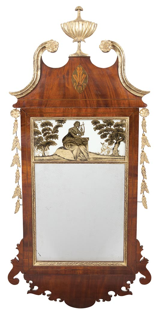 Lot image - Federal Inlaid and Parcel-Gilt Mahogany and Églomisé Mirror