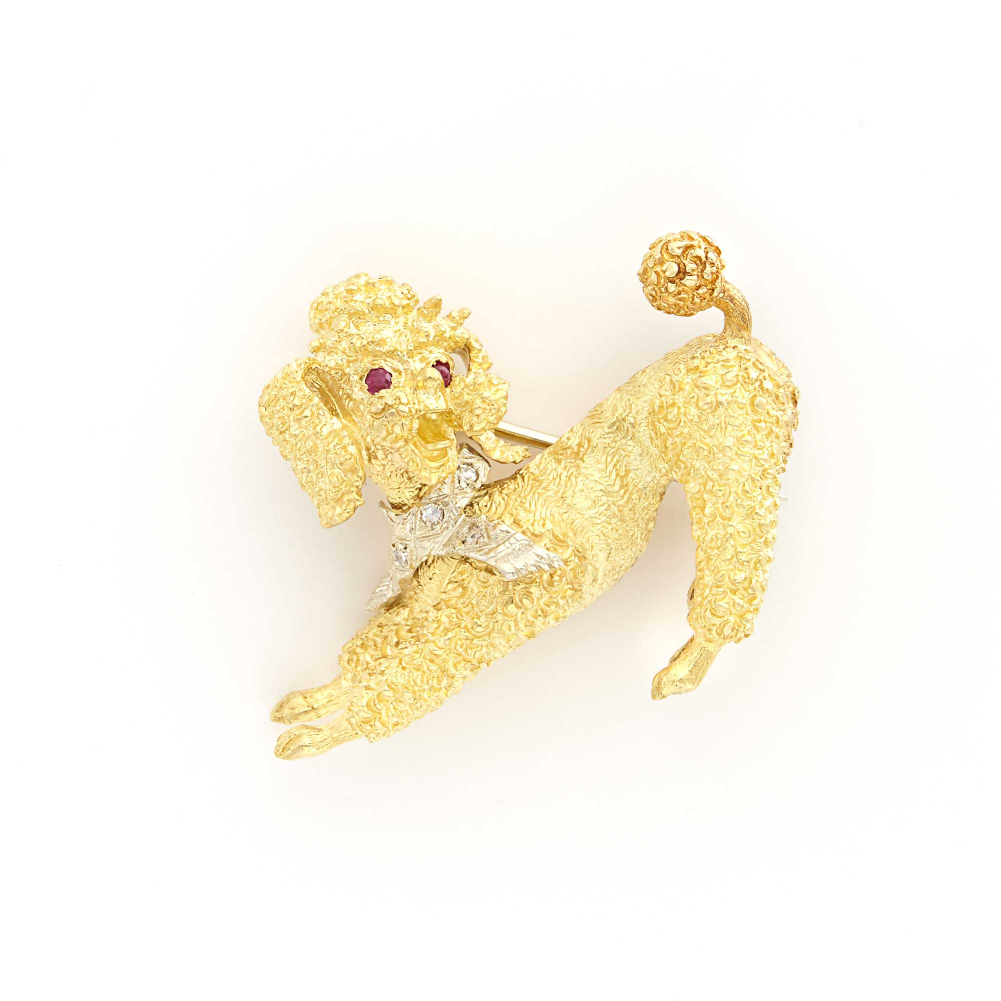 Lot image - Two-Color Gold, Ruby and Diamond Poodle Pin