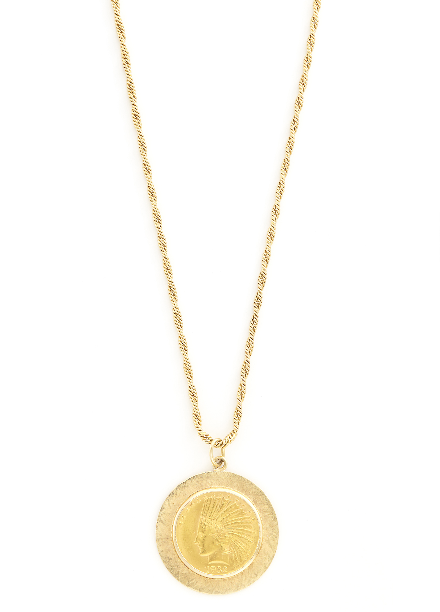 Lot image - Gold and Gold-Coin Pendant with Long Chain