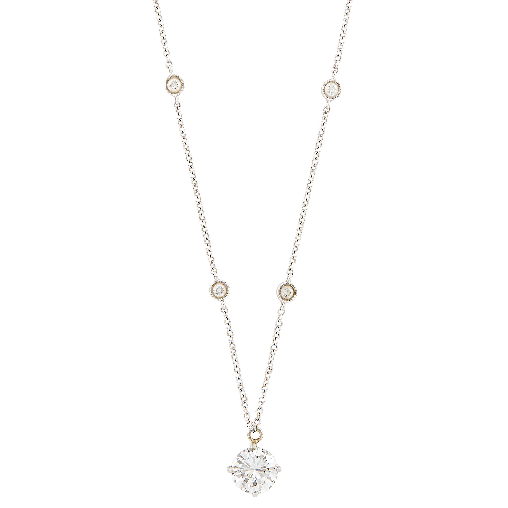 Lot image - White Gold and Diamond Pendant-Necklace