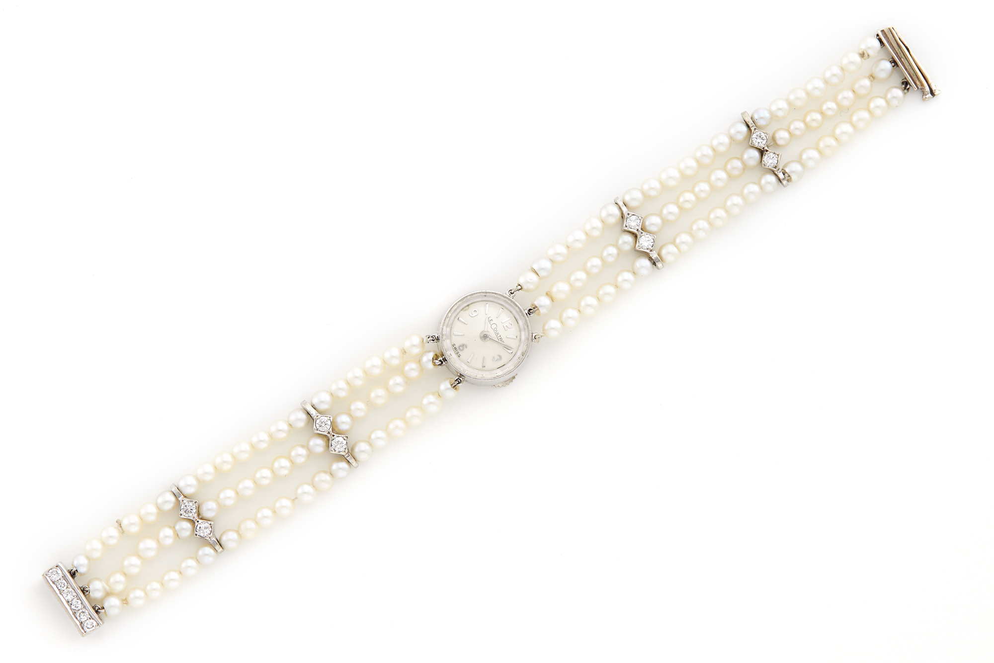 Lot image - Ladys Triple Strand Cultured Pearl, Platinum and Diamond Bracelet-Watch, Jaeger LeCoultre