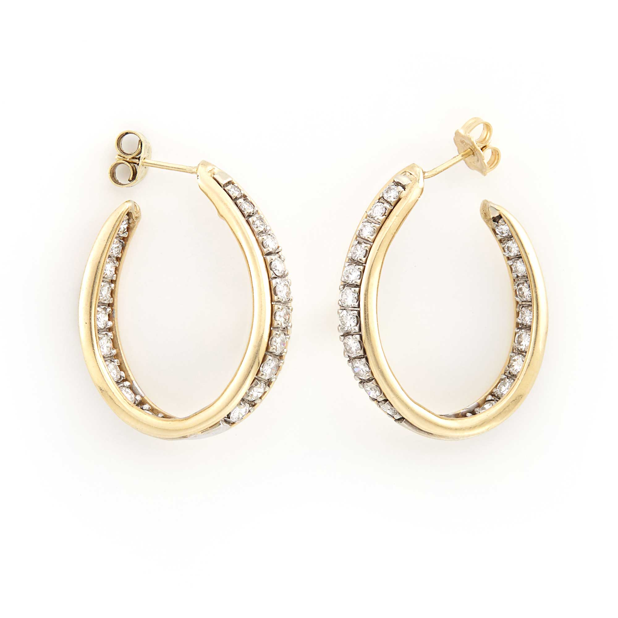 Lot image - Pair of Two-Color Gold and Diamond Hoop Earrings