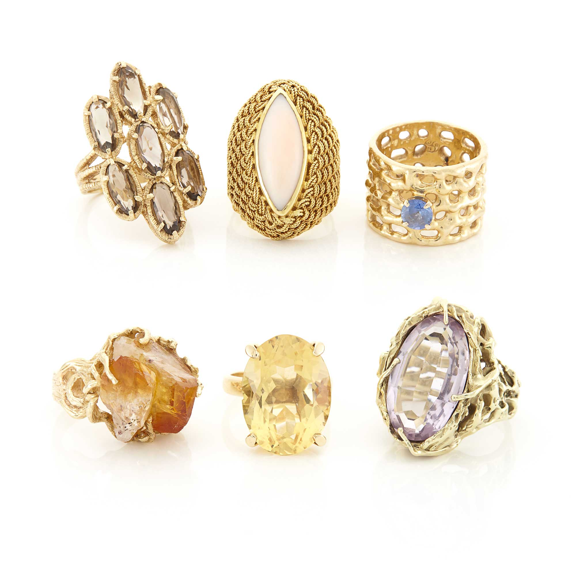 Lot image - Six Gold and Gem-Set Rings