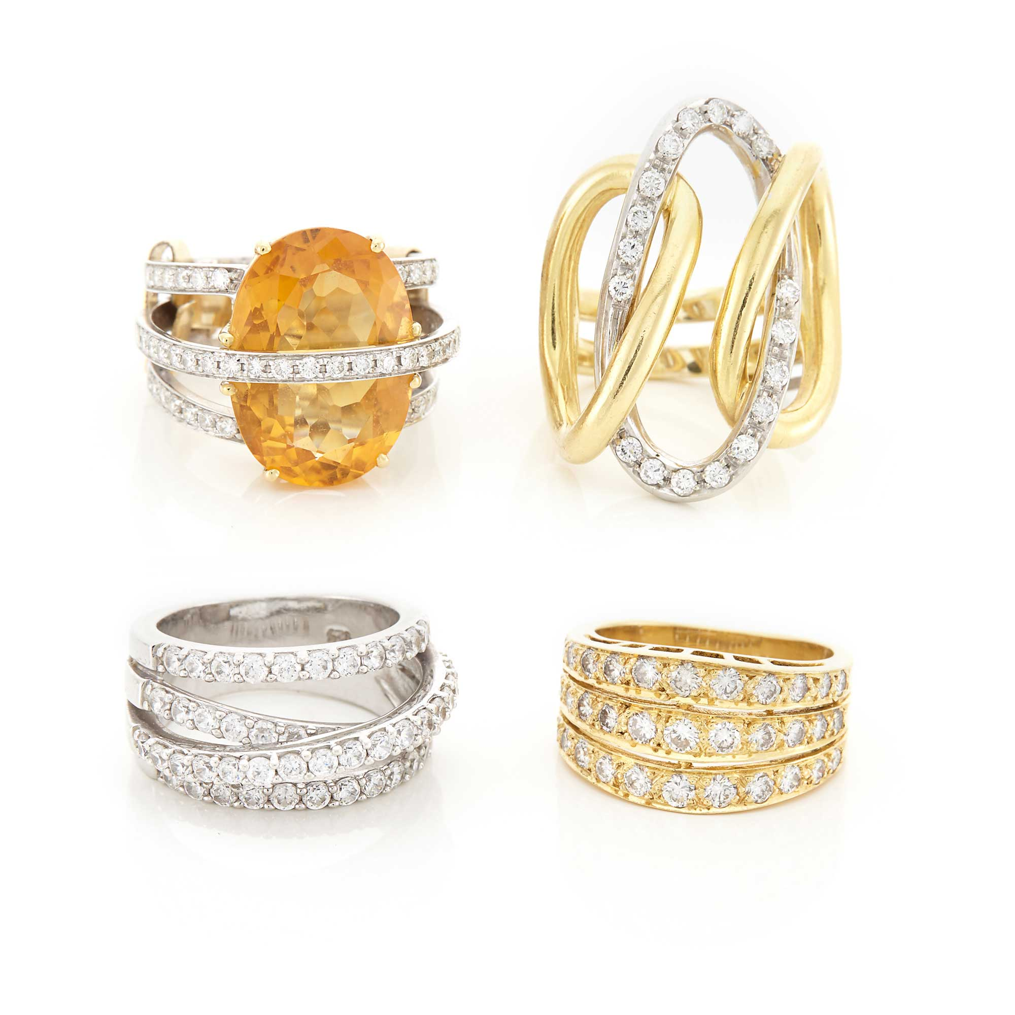 Lot image - Four Yellow and White Gold, Silver, Diamond, Simulated Diamond and Citrine Rings