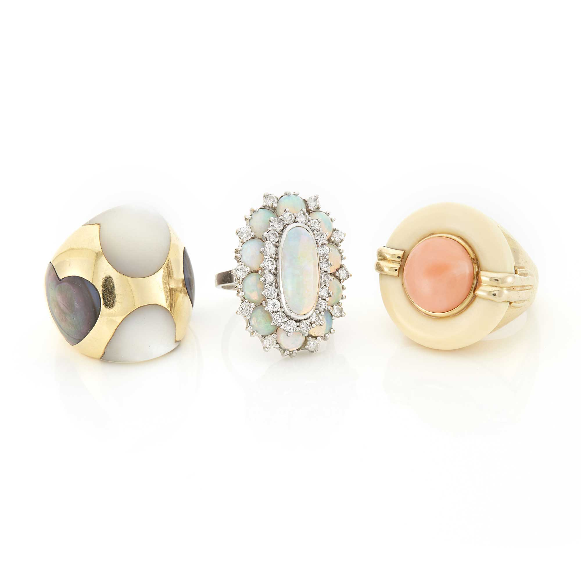 Lot image - Gold, Mother-of-Pearl and Abalone Shell Ring, Coral and Resin Ring and Opal and Diamond Ring