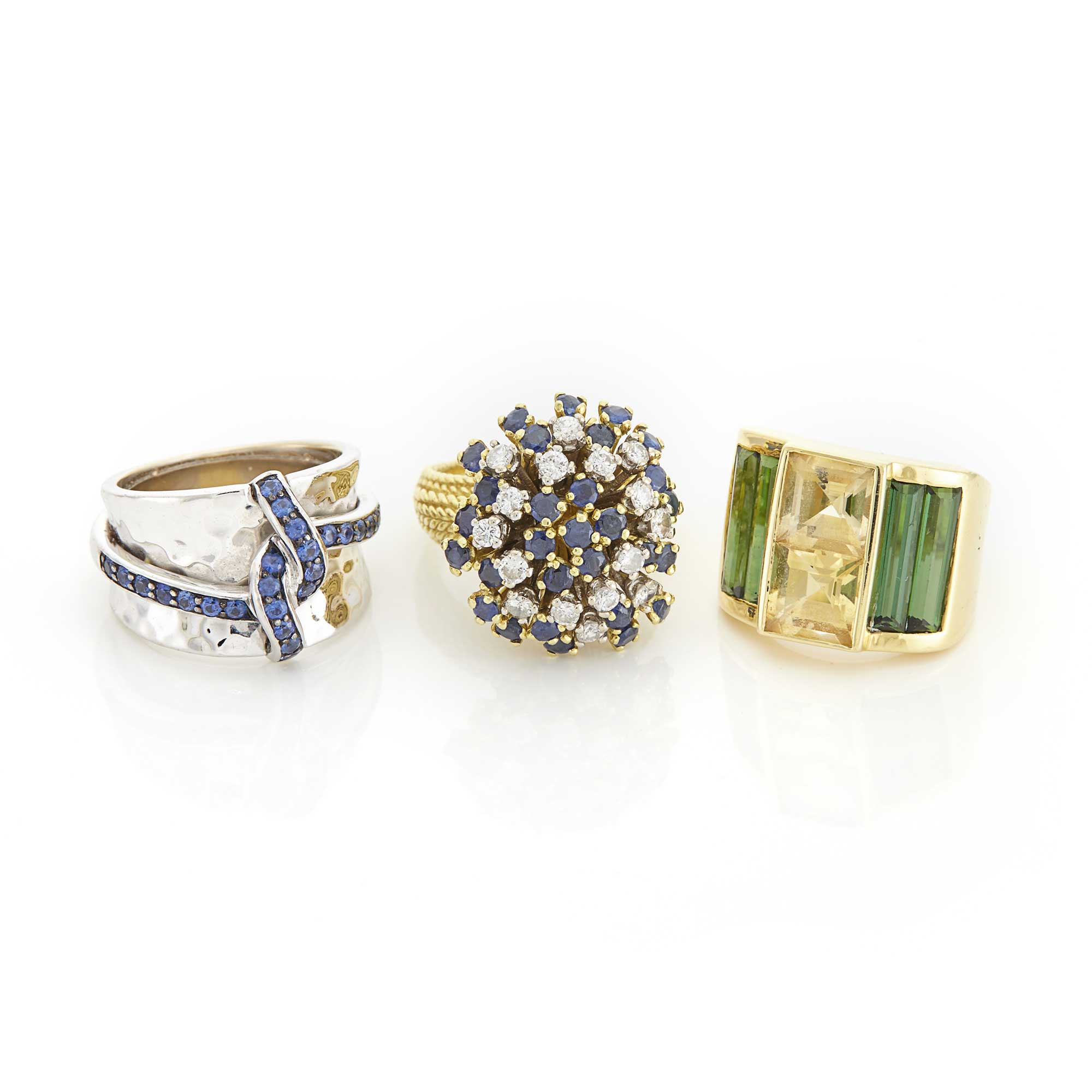 Lot image - Three Yellow and White Gold, Diamond and Gem-Set Rings
