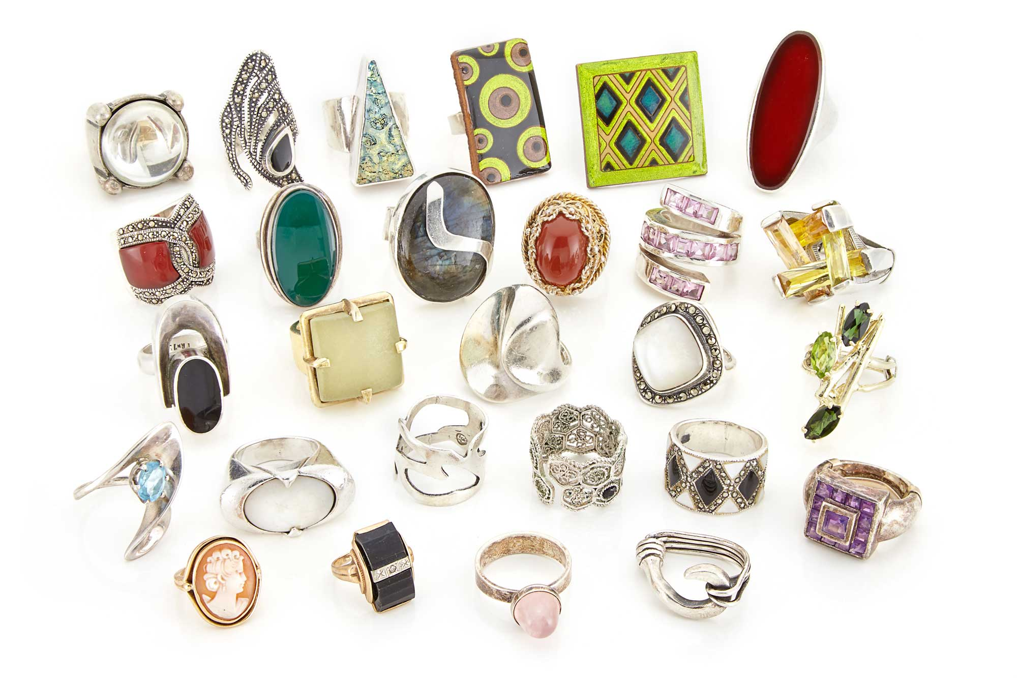 Lot image - Group of Sterling Silver and Metal Rings