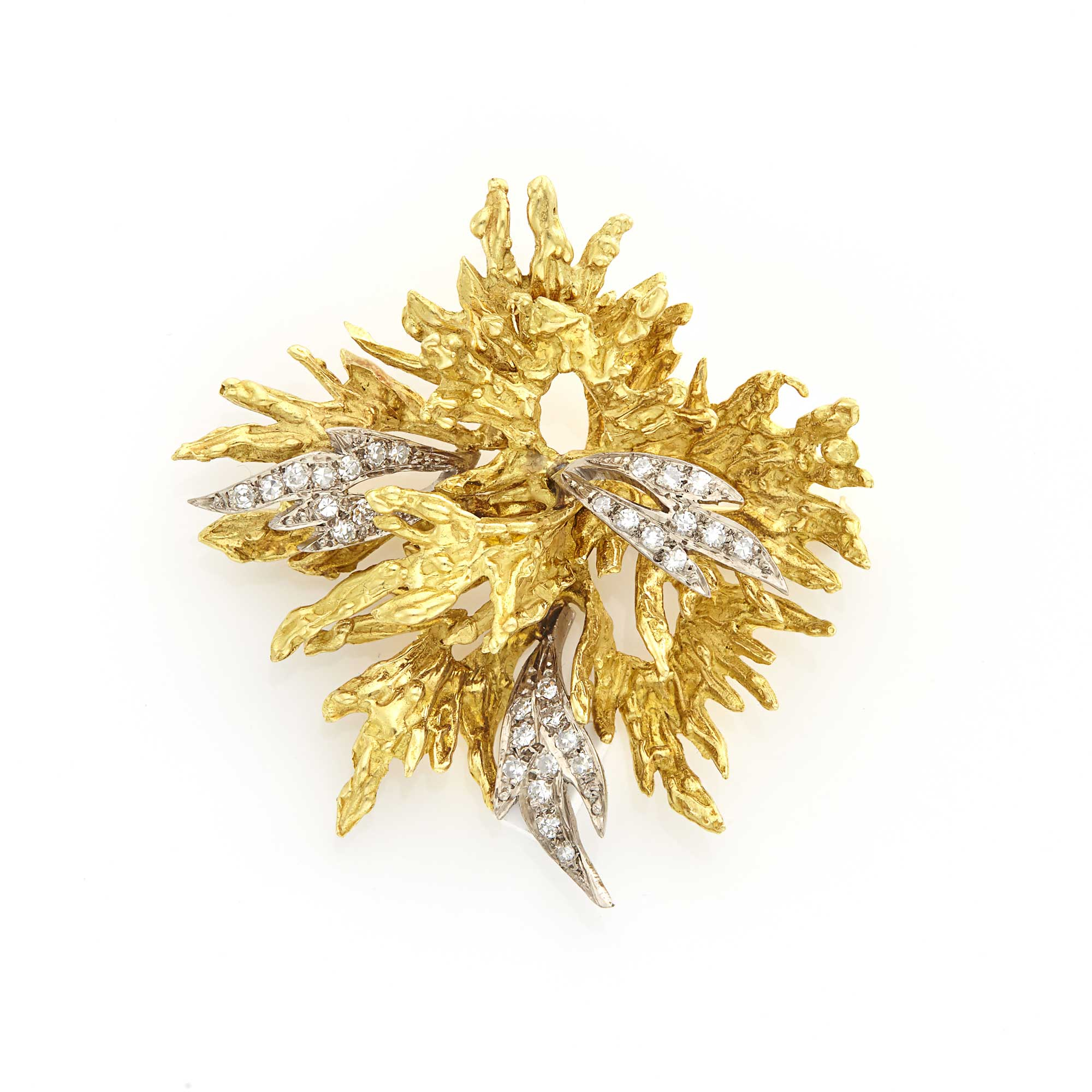 Lot image - Gold and Diamond Leaf Brooch