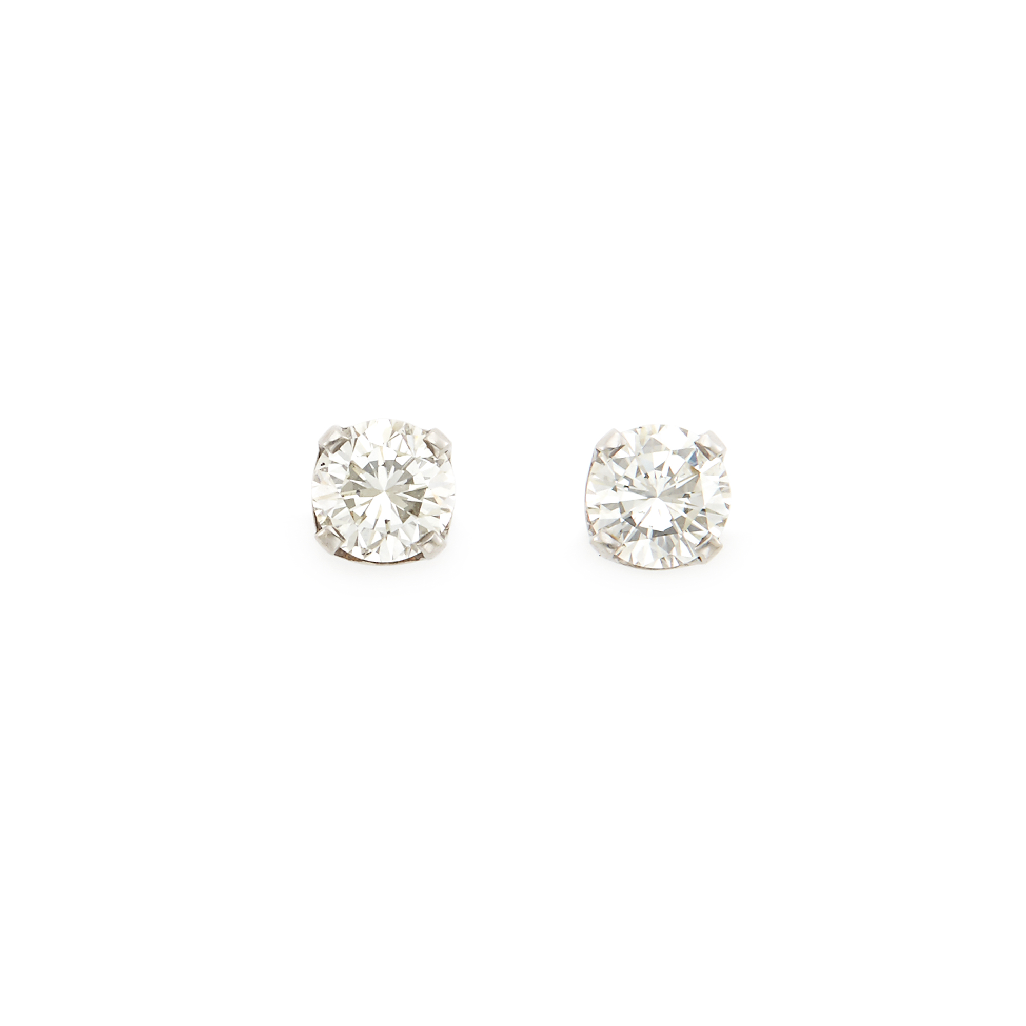 Lot image - Pair of Diamond Stud Earrings