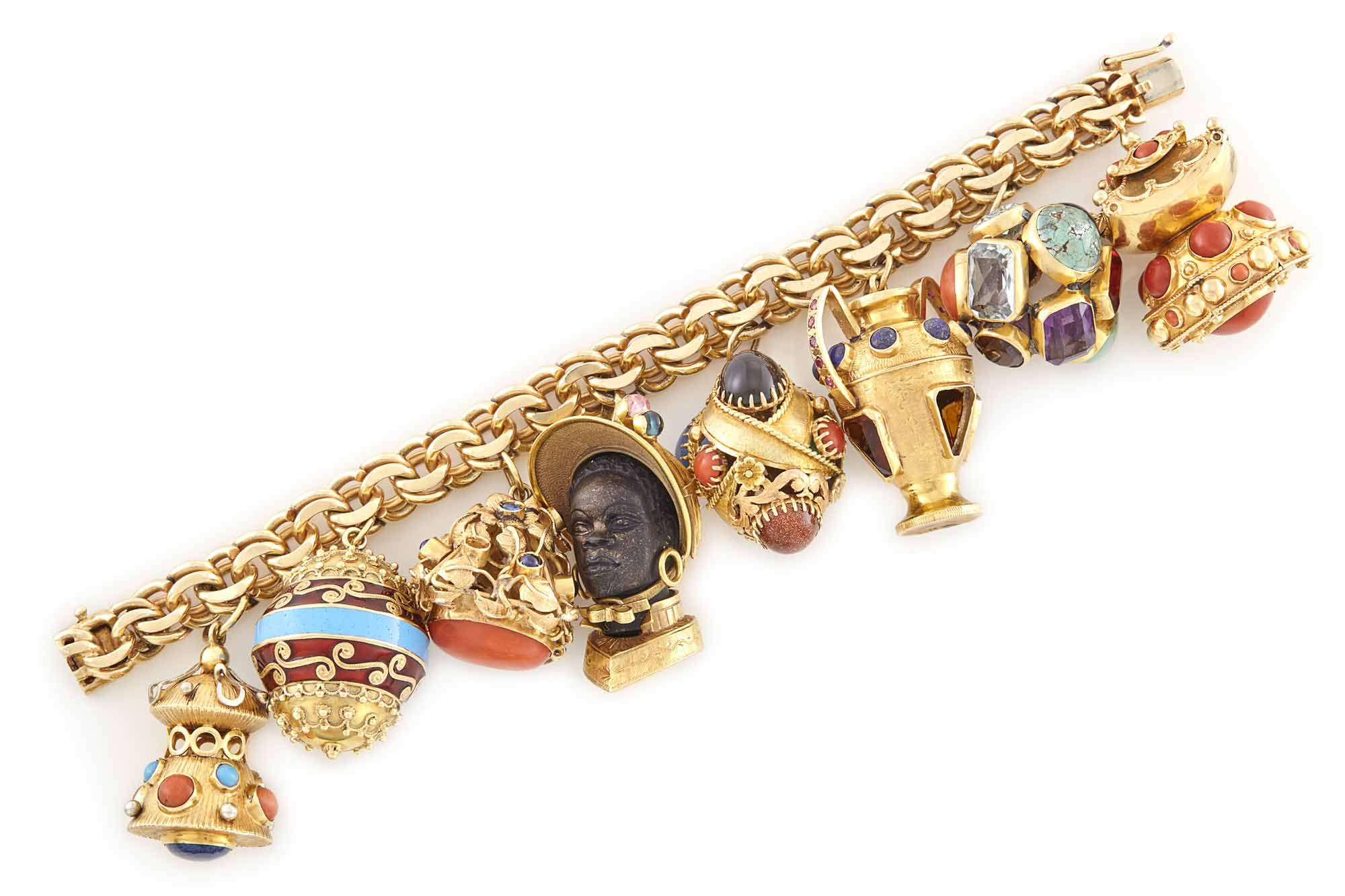 Lot image - Gold, Gem-Set and Enamel Charm Bracelet