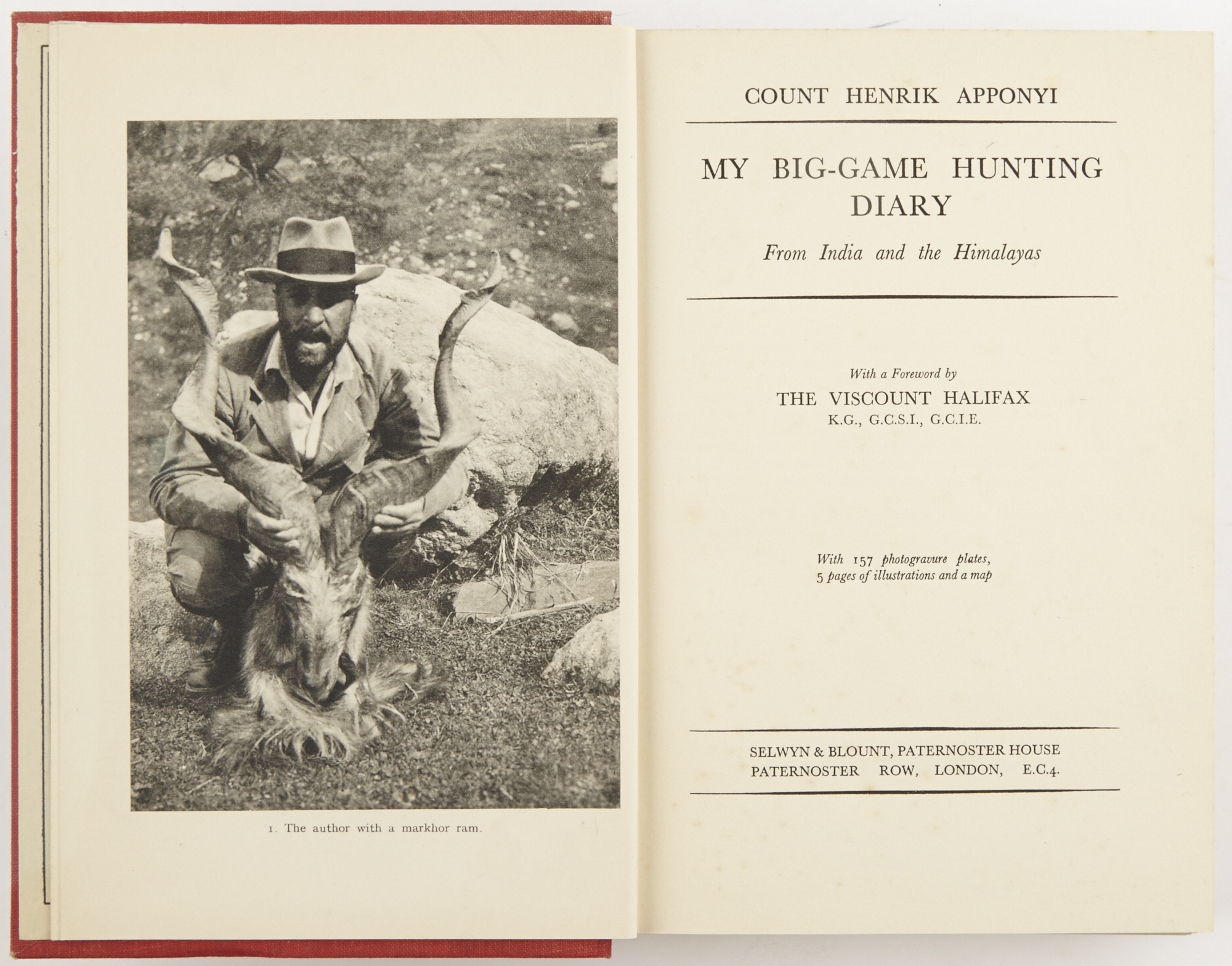 Lot image - APPONYI, COUNT HENRIK  My Big-Game Hunting Diary. From India and the Himalayas.