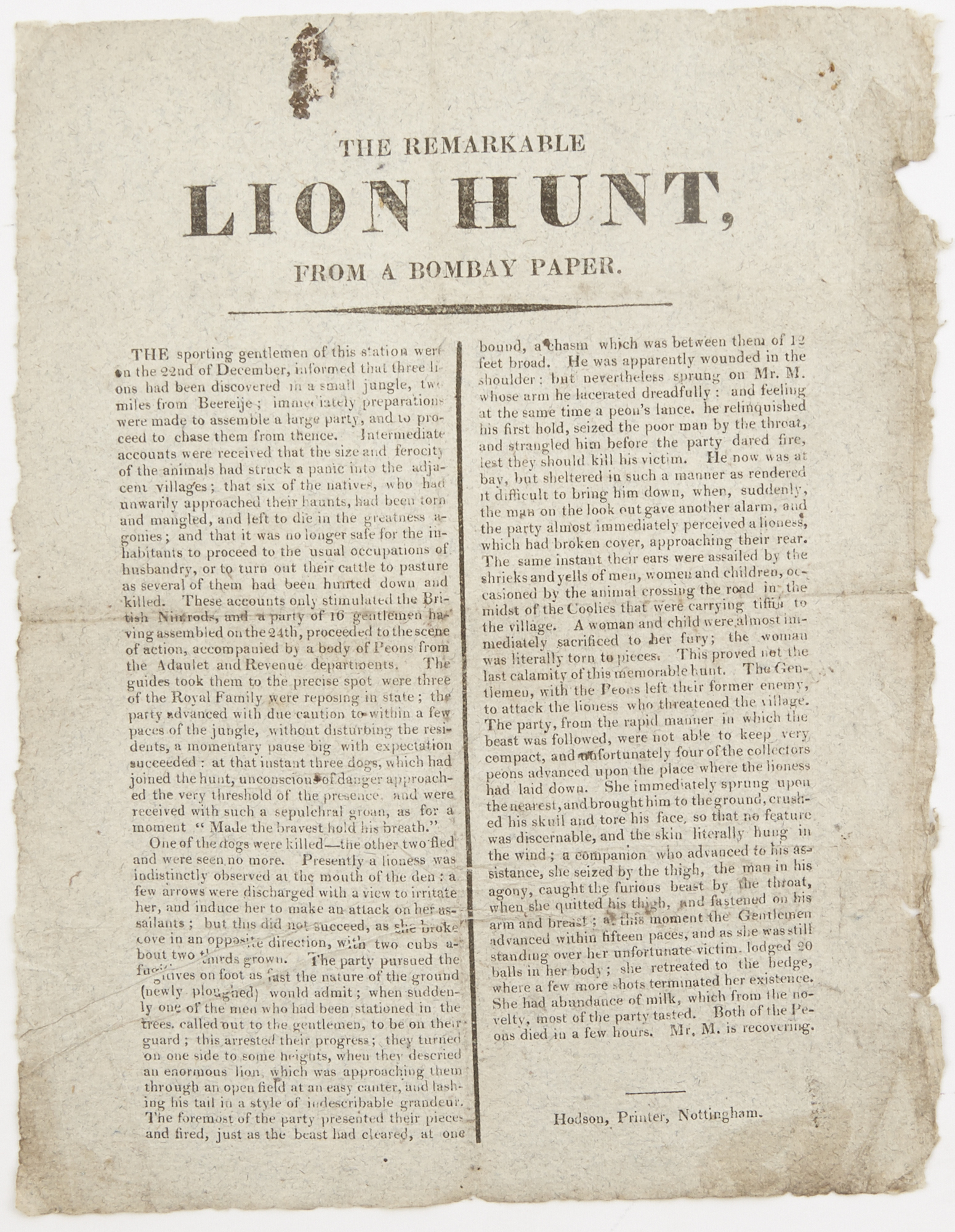 Lot image - [ANON.]  The remarkable lion hunt, from a Bombay paper.
