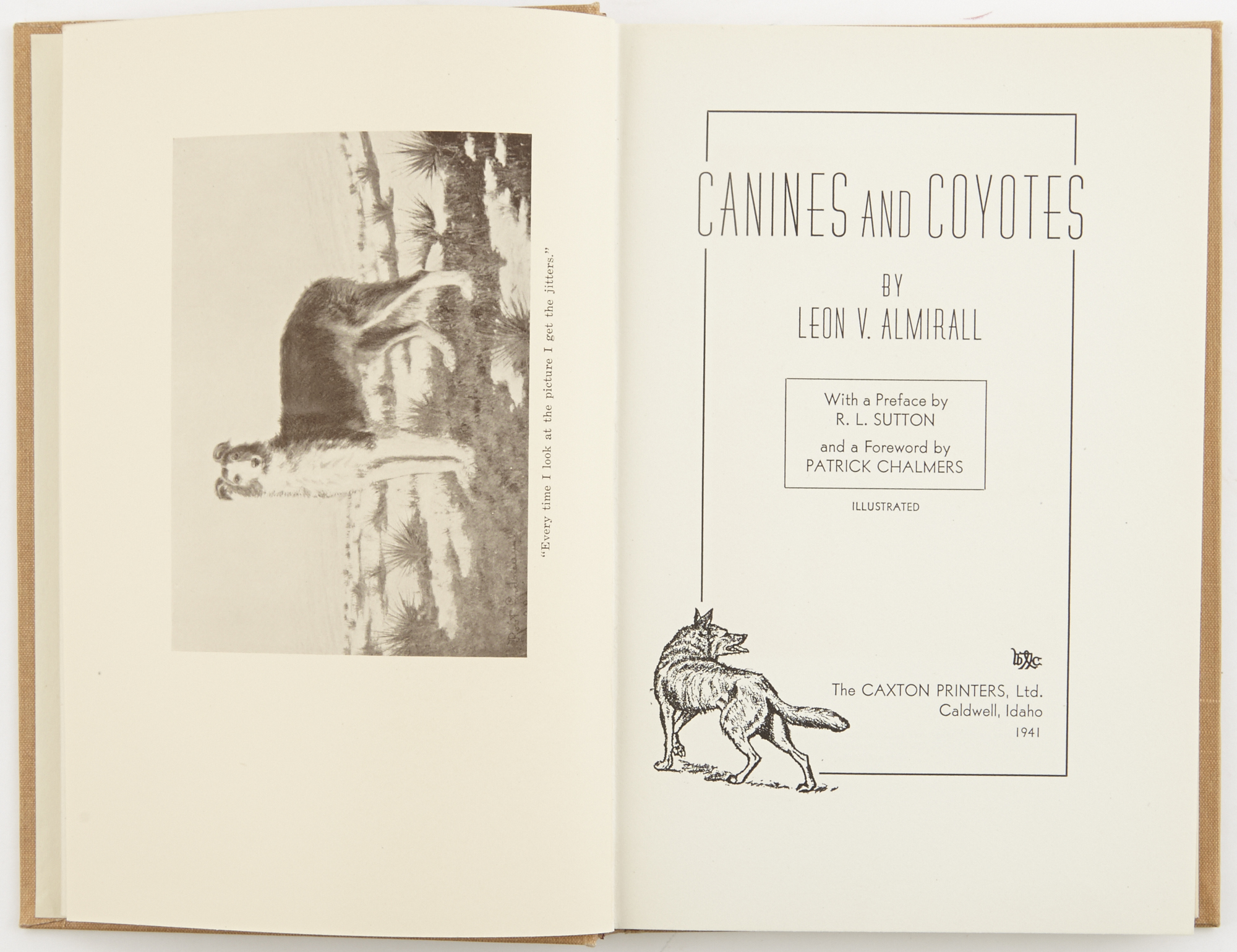 Lot image - ALMIRALL, LEON V.  Canines and Coyotes.