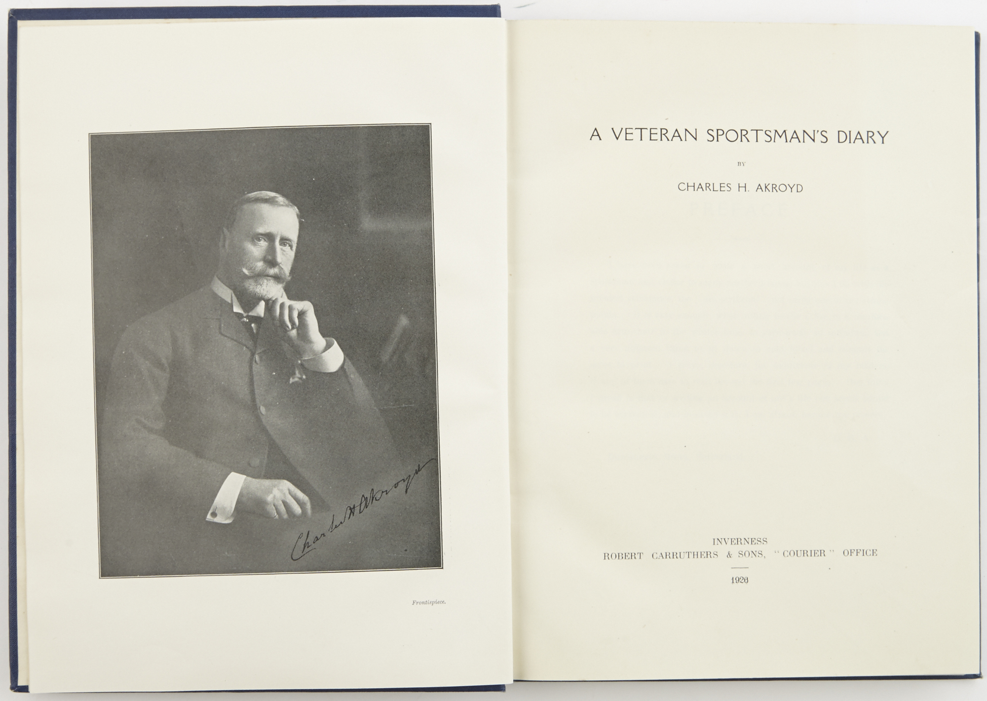 Lot image - AKROYD, CHARLES H.  A Veteran Sportsmans Diary.