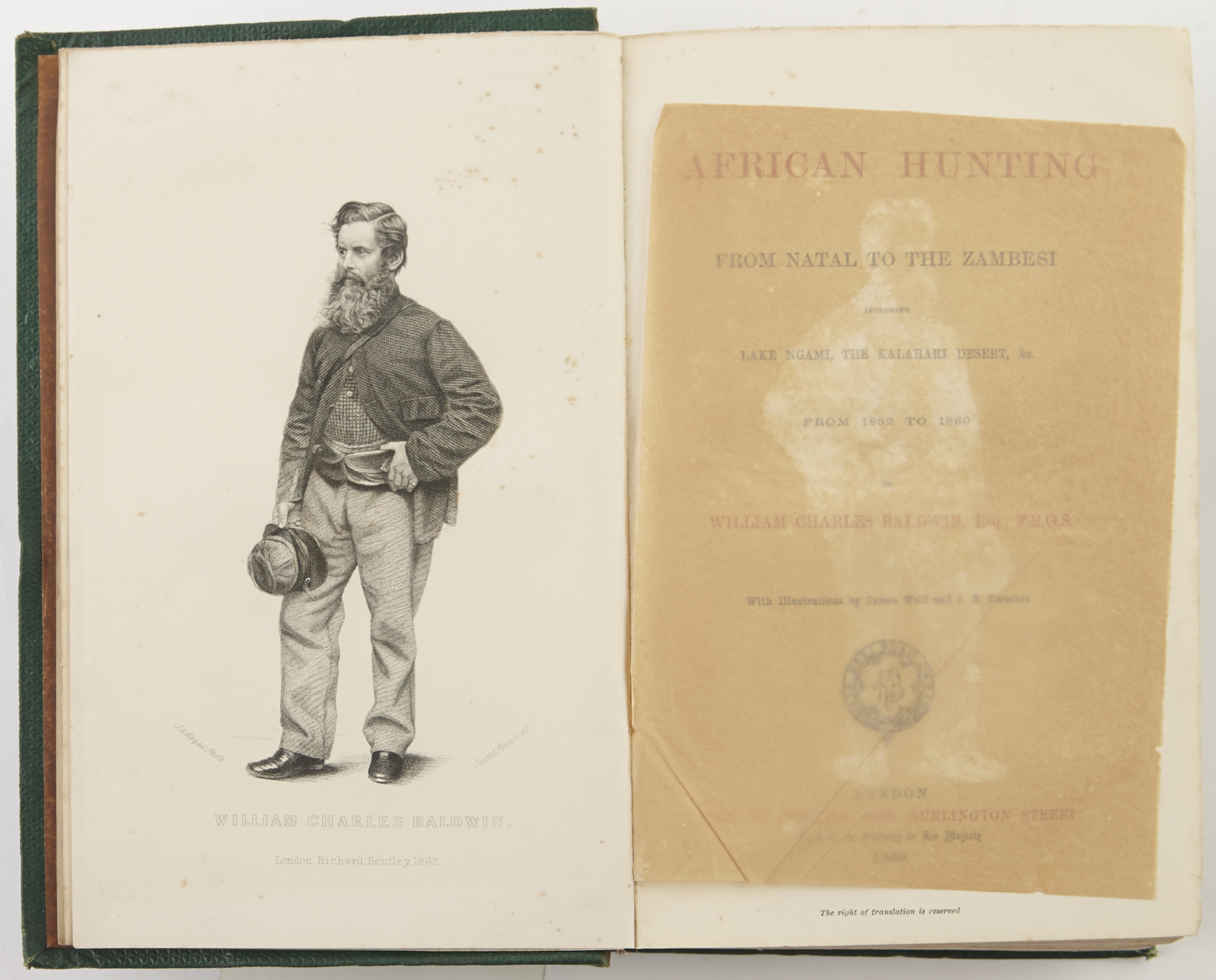Lot image - BALDWIN, WILLIAM CHARLES  African Hunting. From Natal to the Zambesi...