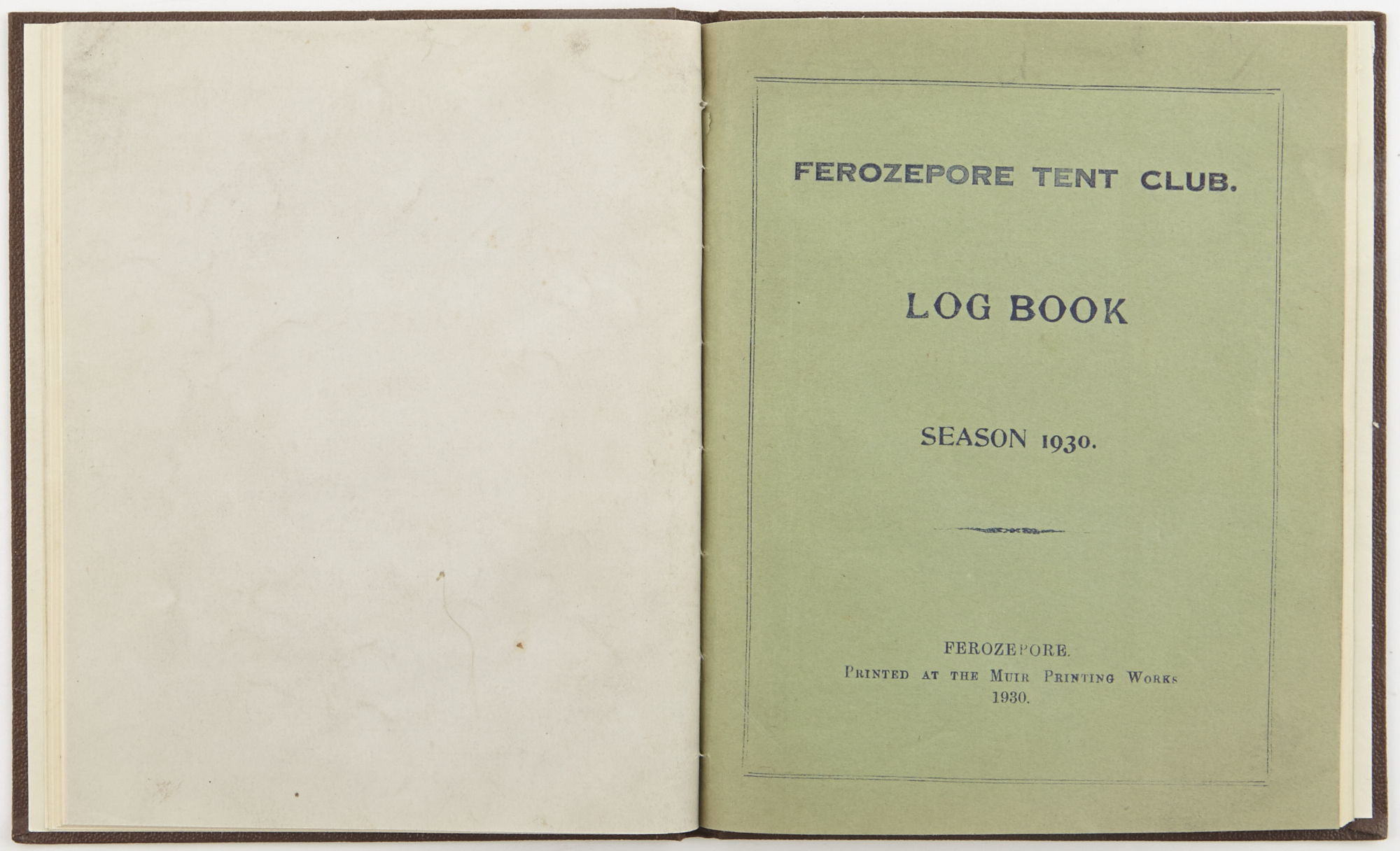 Lot image - [ANON.]  Ferozepore Tent Club. Log Book. Season 1929