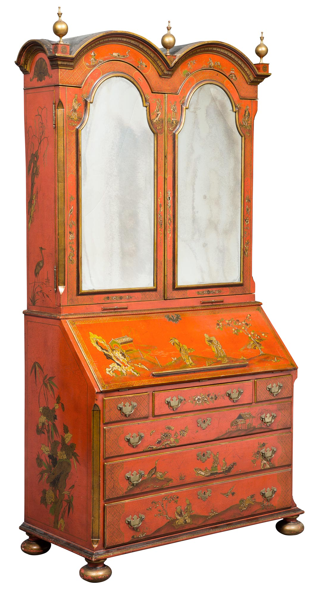Lot image - George I Style Red Lacquer and Parcel-Gilt Bureau Cabinet