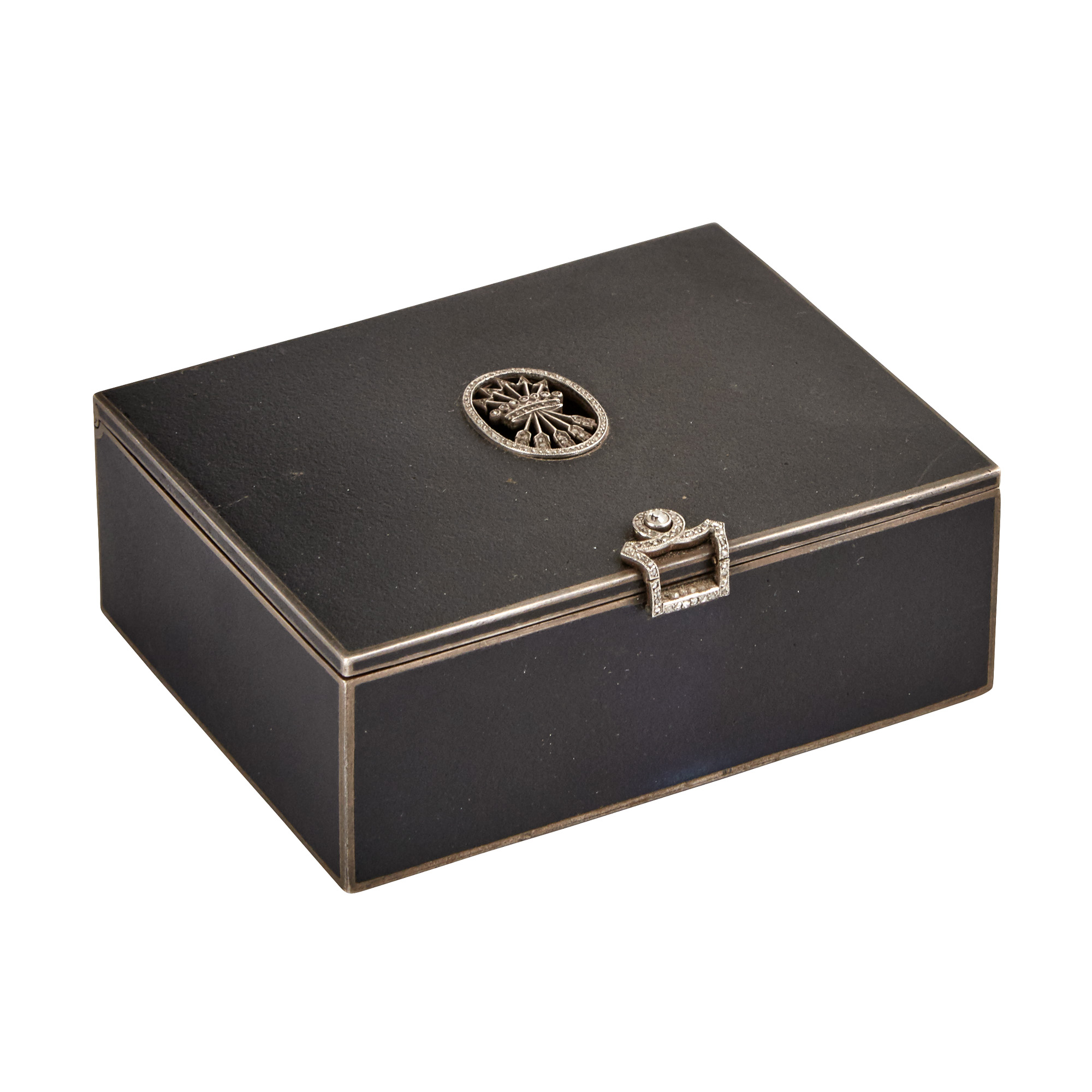 Lot image - Continental Jeweled and Lacquered Silver Box