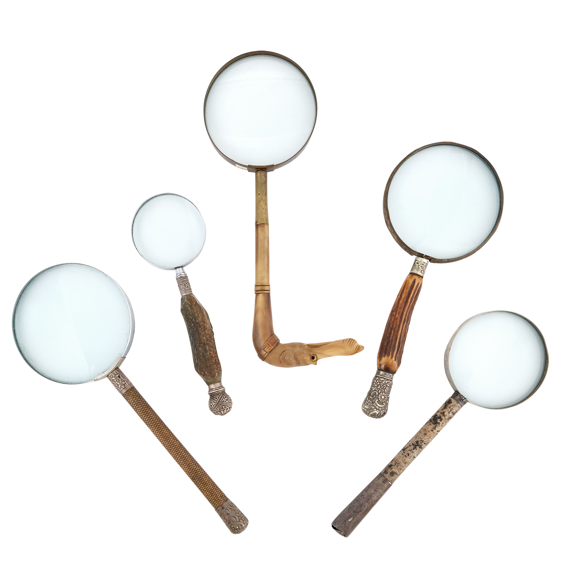 Lot image - Group of Five Magnifying Glasses