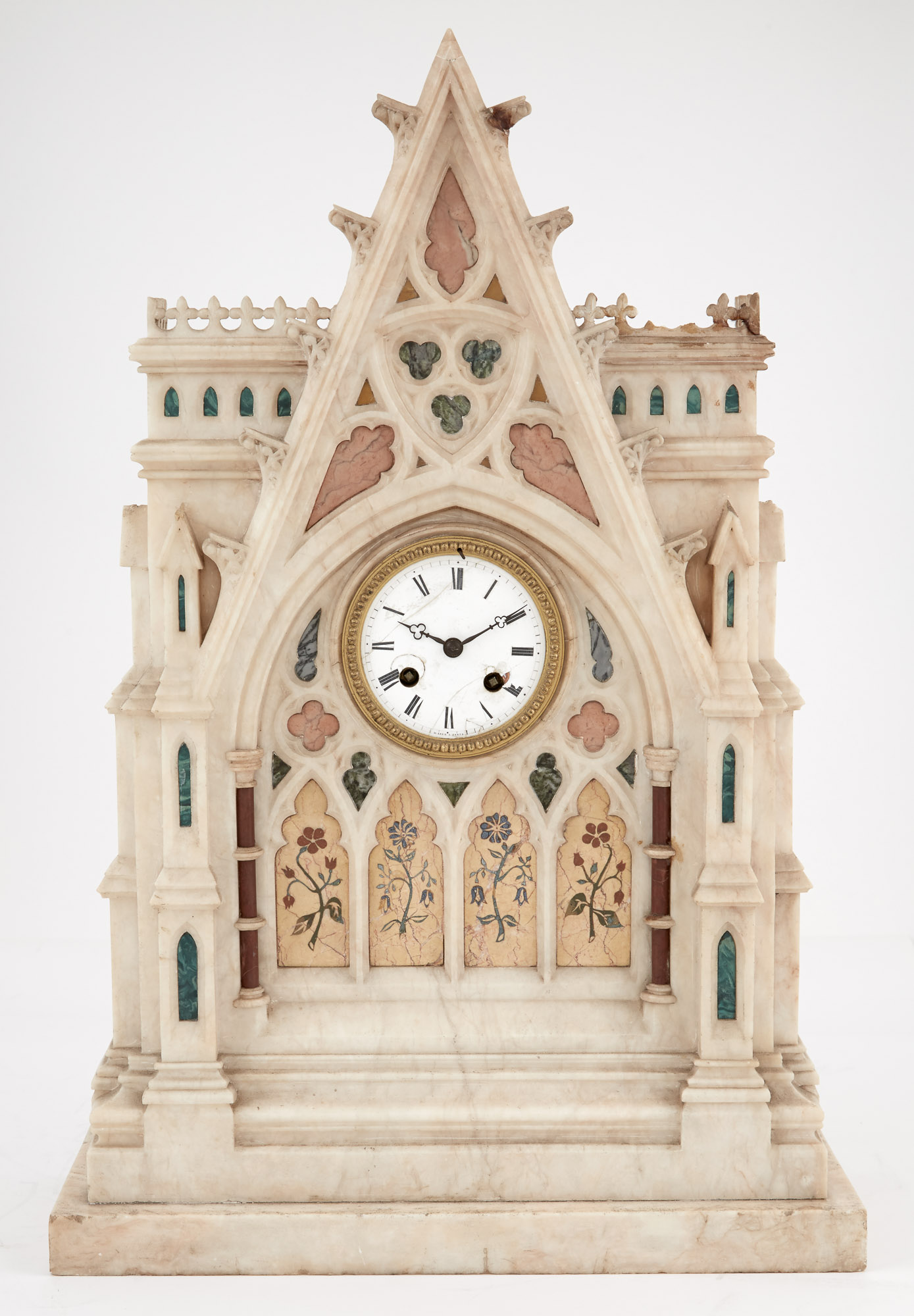 Lot image - French Gothic Style Inlaid Marble Mantel Clock