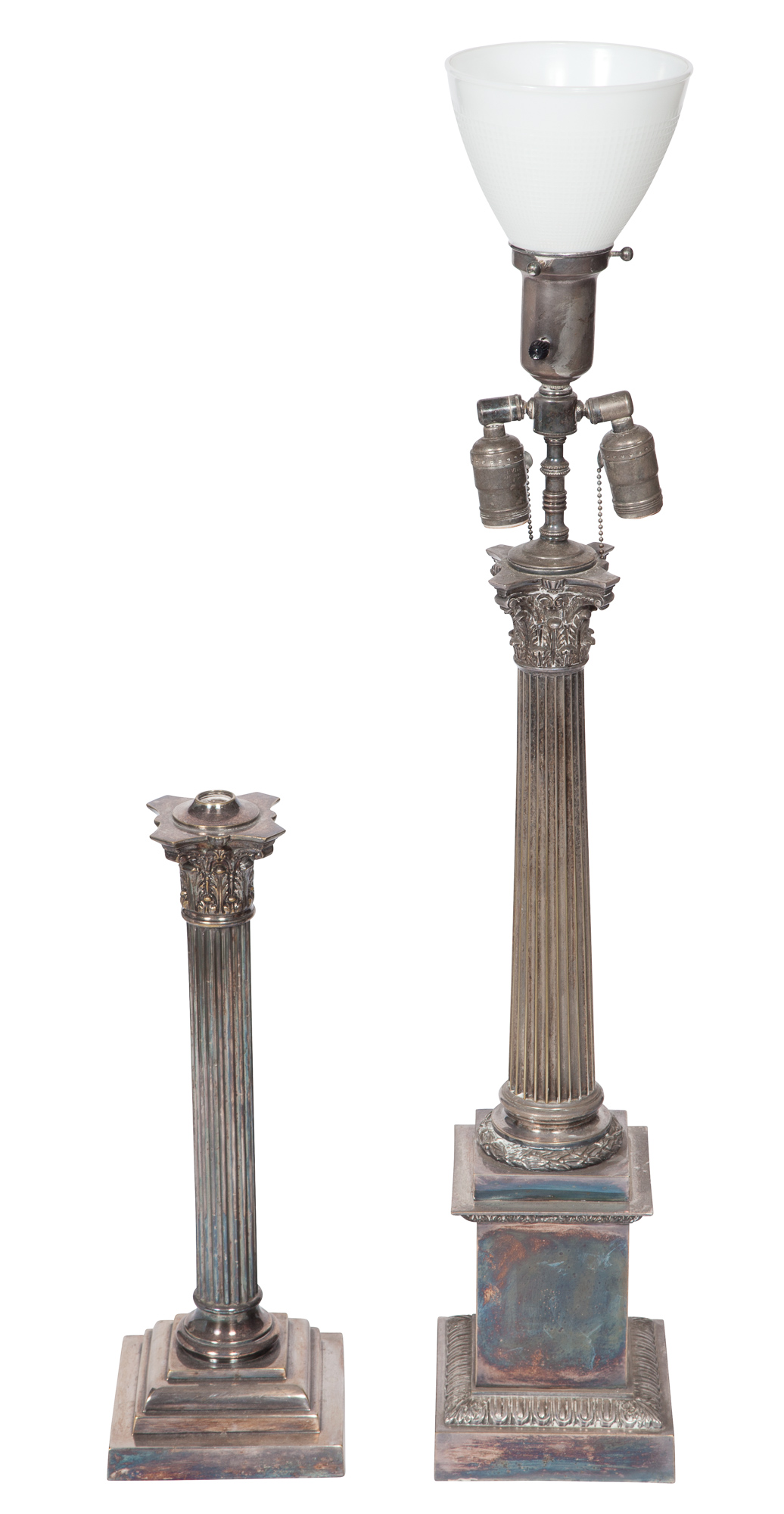 Lot image - Victorian Silver-Plated Columnar Lamp; Together with a Silver-Plated Columnar Lamp