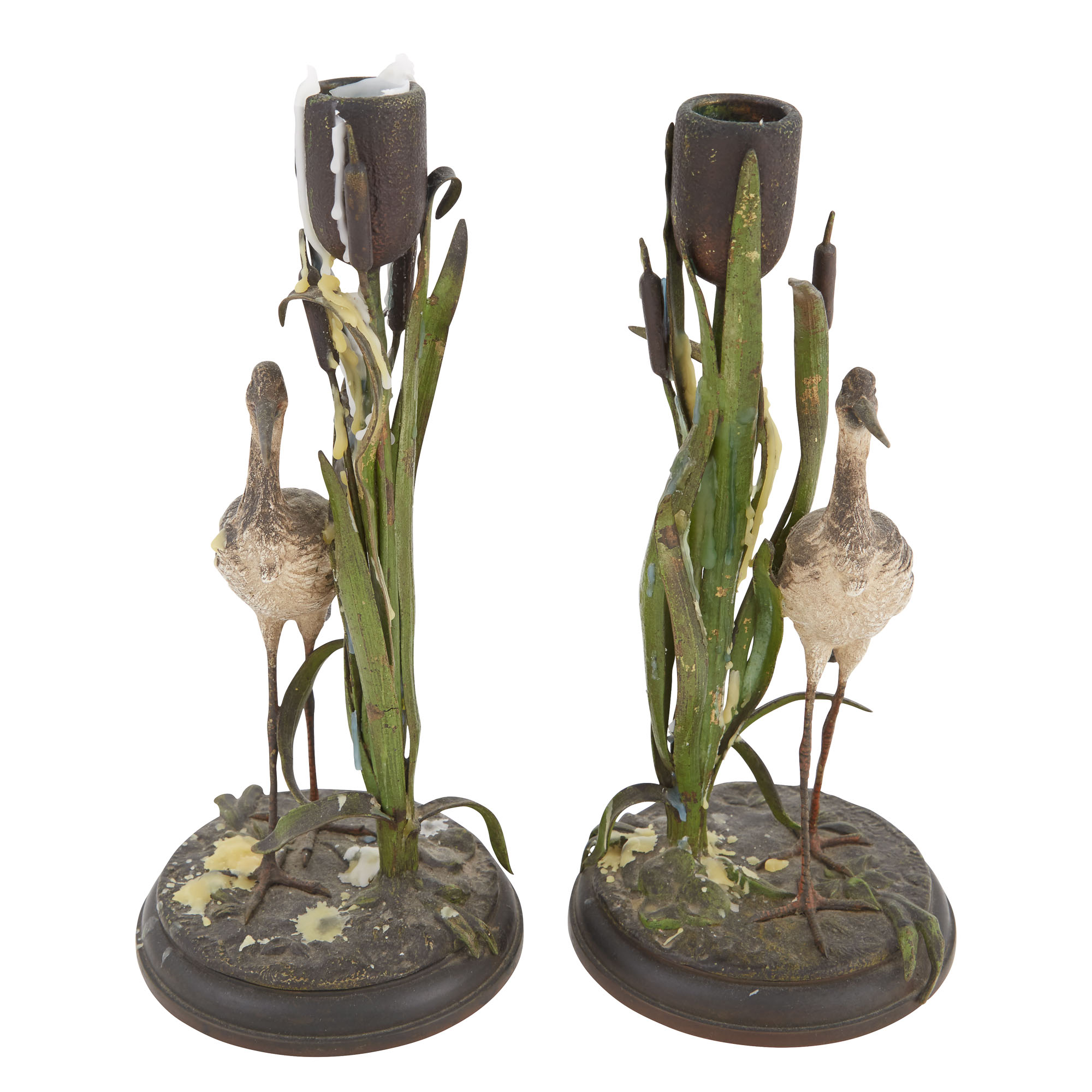 Lot image - Pair of Austrian Style Cold-Painted Metal Heron and Cattail-Form Candlesticks