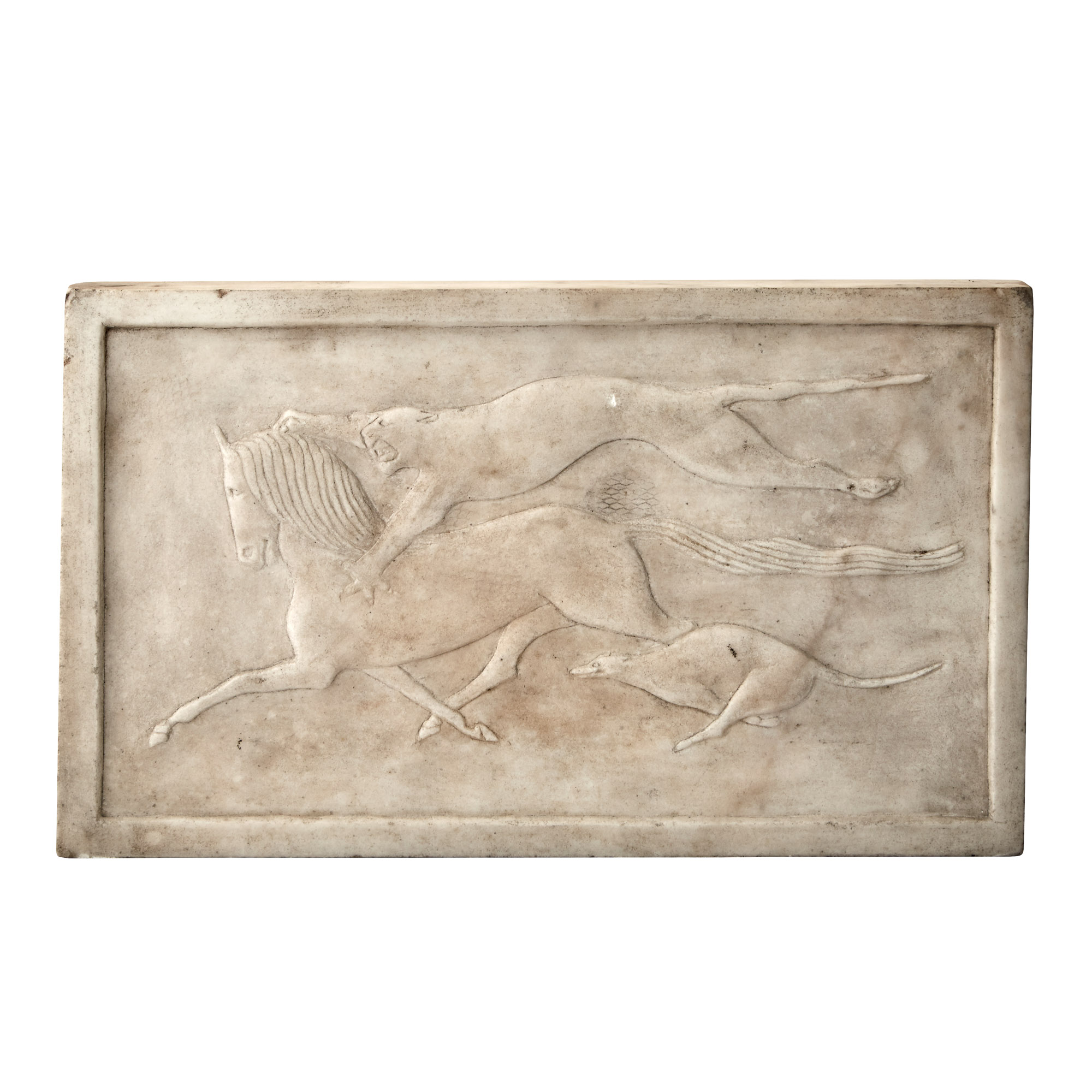 Lot image - Art Deco White Marble Bas-Relief Panel of Running Animals