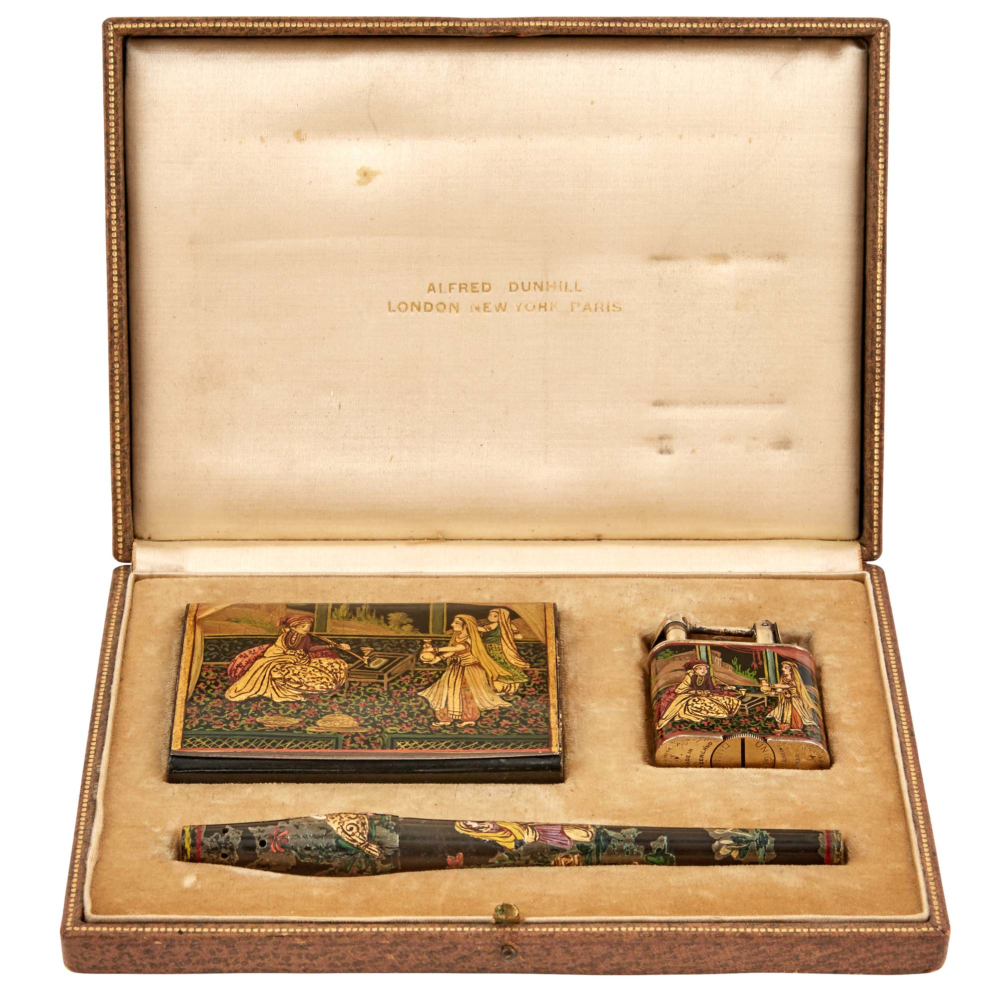 Lot image - Alfred Dunhill Enamel Decorated Sterling Silver and Lacquered Wood Three-Piece Orientalist Smoking Set