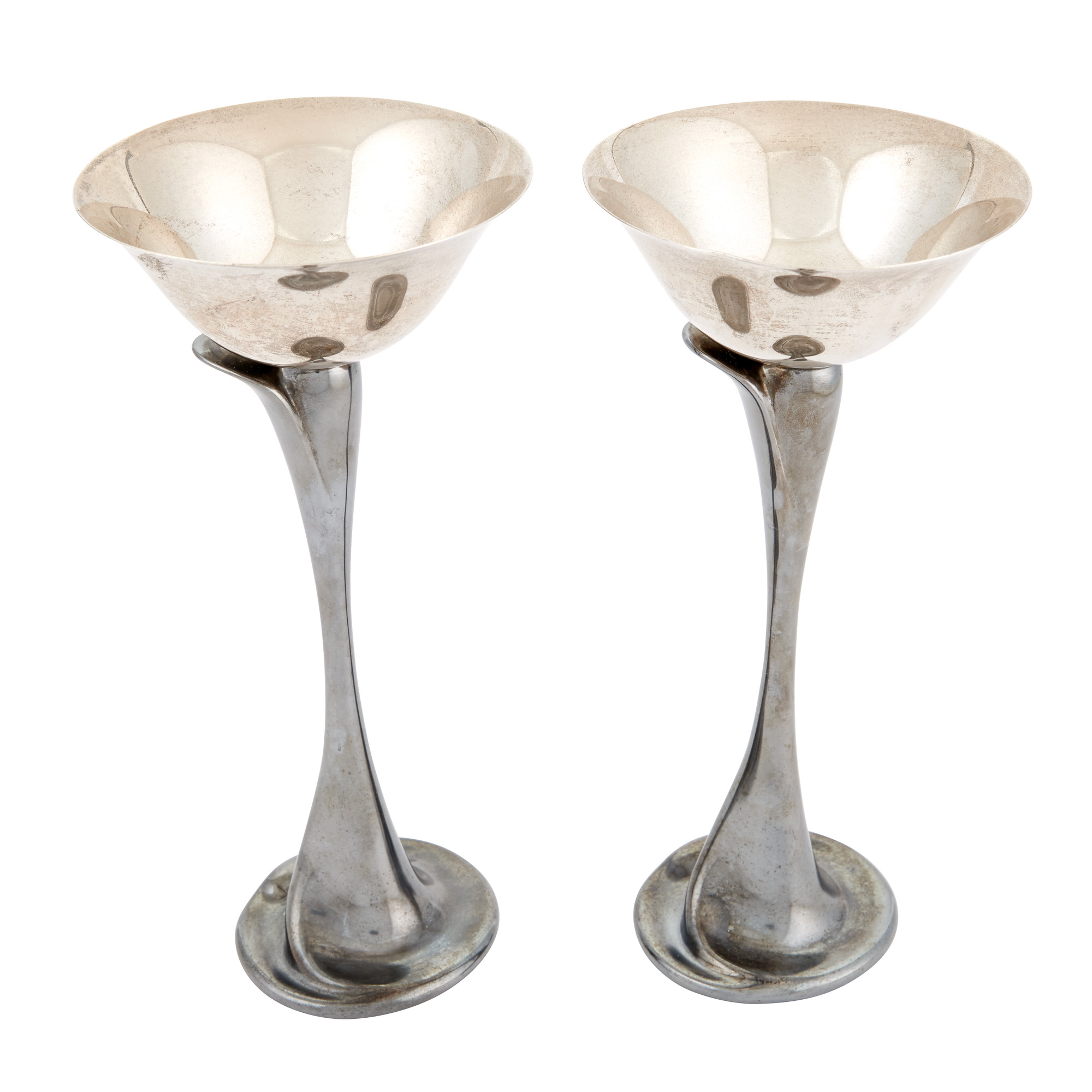 Lot image - Pair of Elsa Peretti for Tiffany & Co. Two-Tone Sterling Silver Flower-Form Martini Glasses
