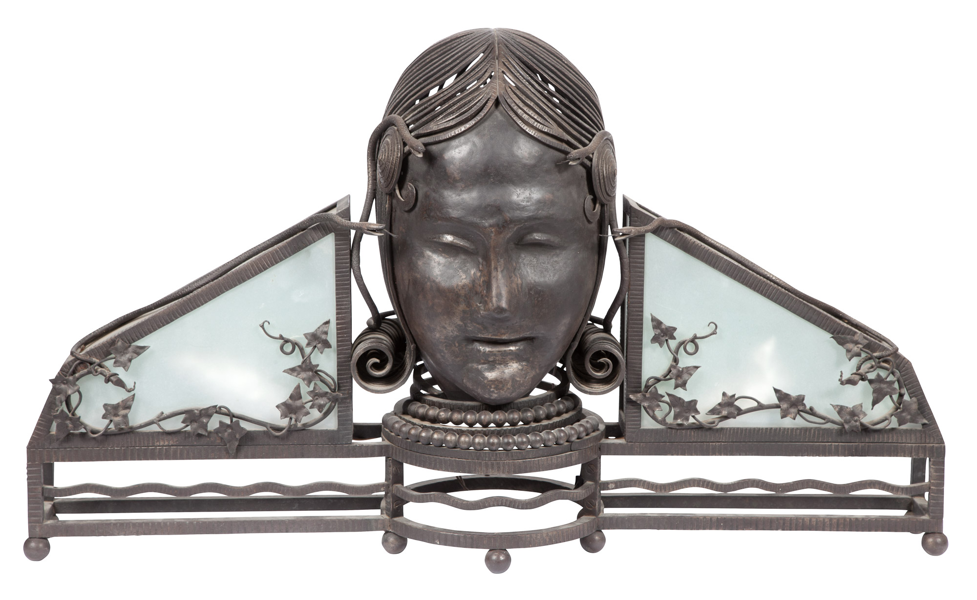 Lot image - Art Deco Style Oversize Wrought Iron and Metal Head of Medusa Light Fixture