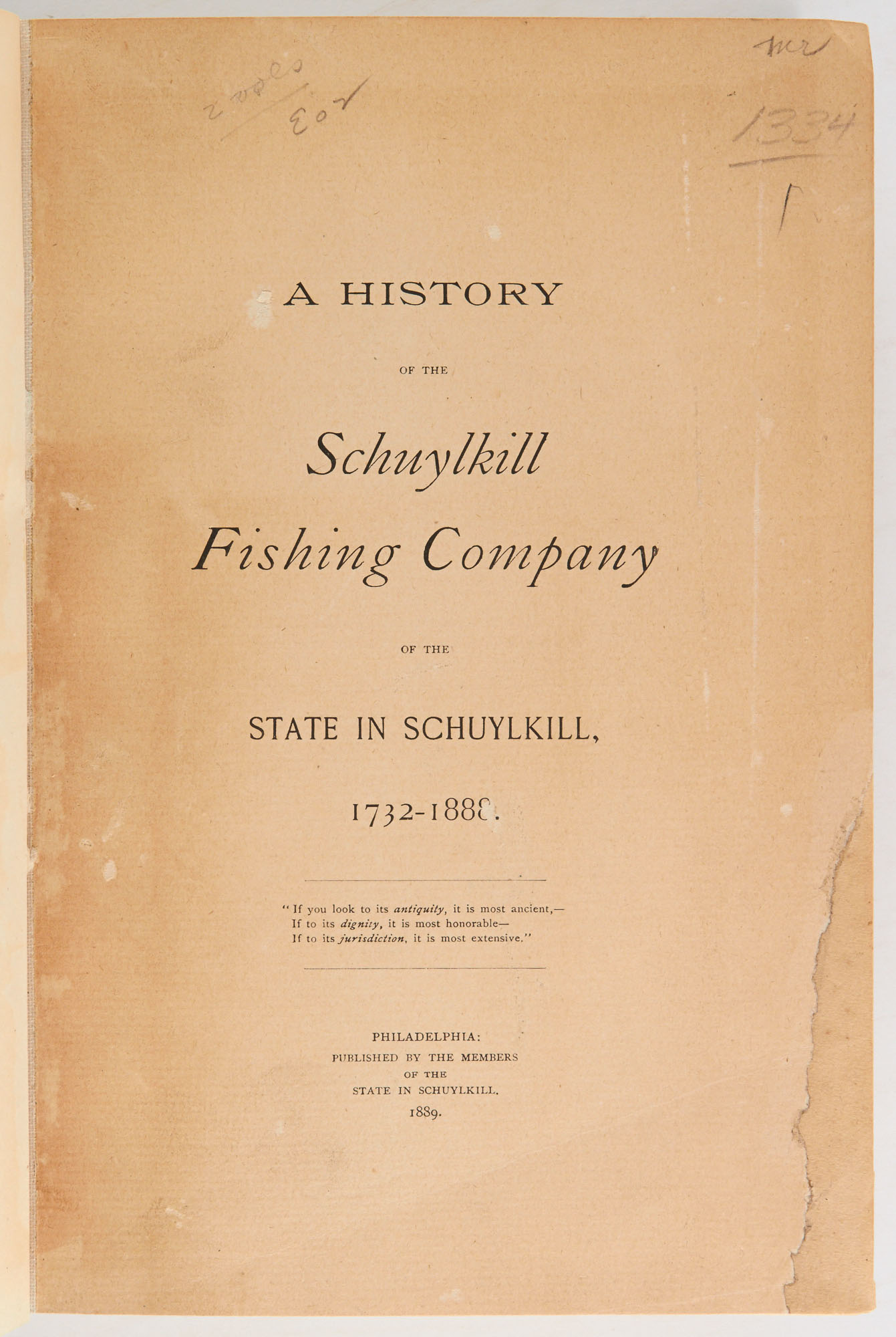 Lot image - [ANGLING CLUB]  A History of the Schuylkill Fishing Company of the State in Schuylkill, 1732-1888.
