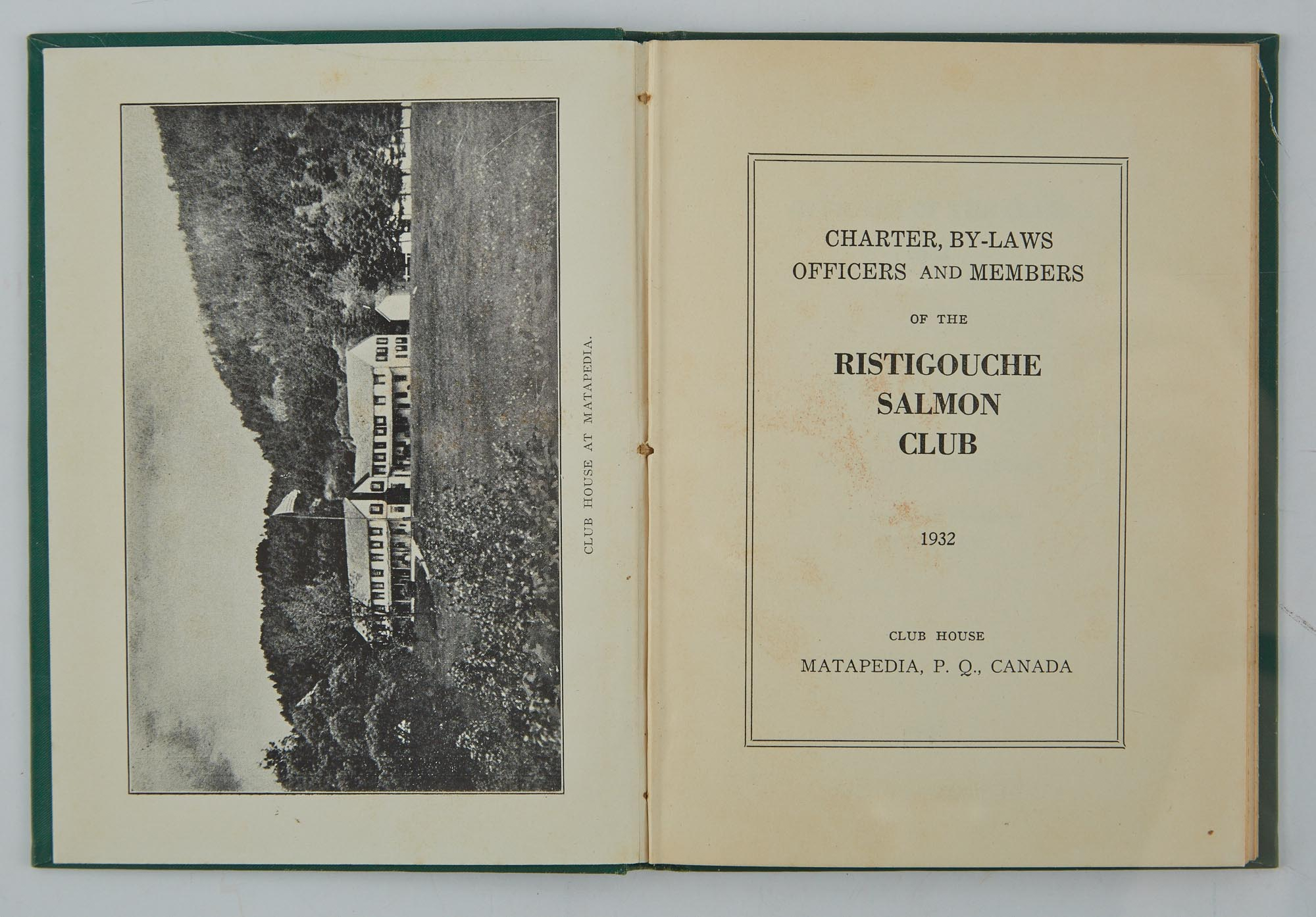 Lot image - [ANGLING CLUB]  Charter, By-Laws, Officers and Members of the Ristigouche Salmon Club.