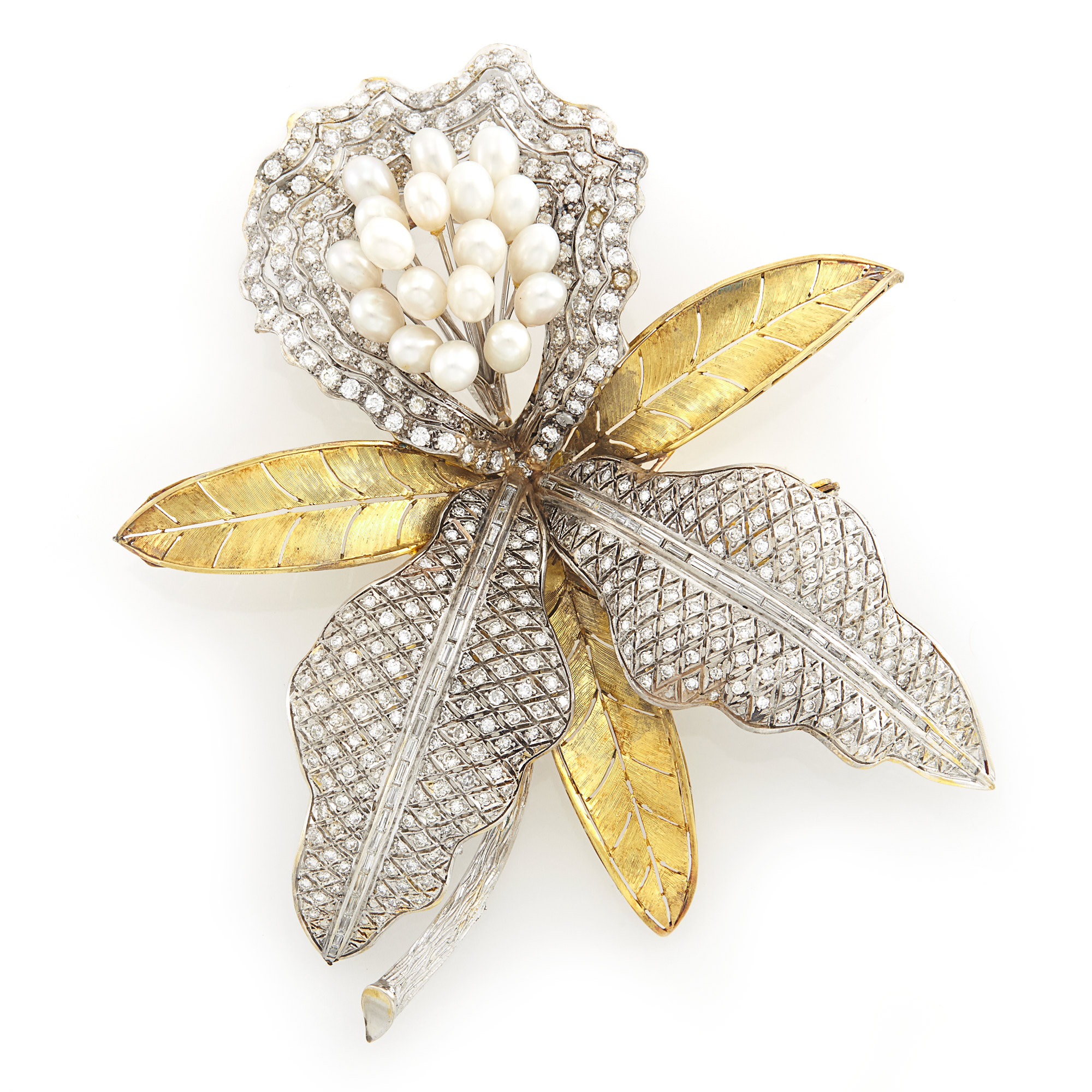Lot image - Oversized Two-Color Gold, Freshwater Pearl and Diamond Orchid Clip-Brooch