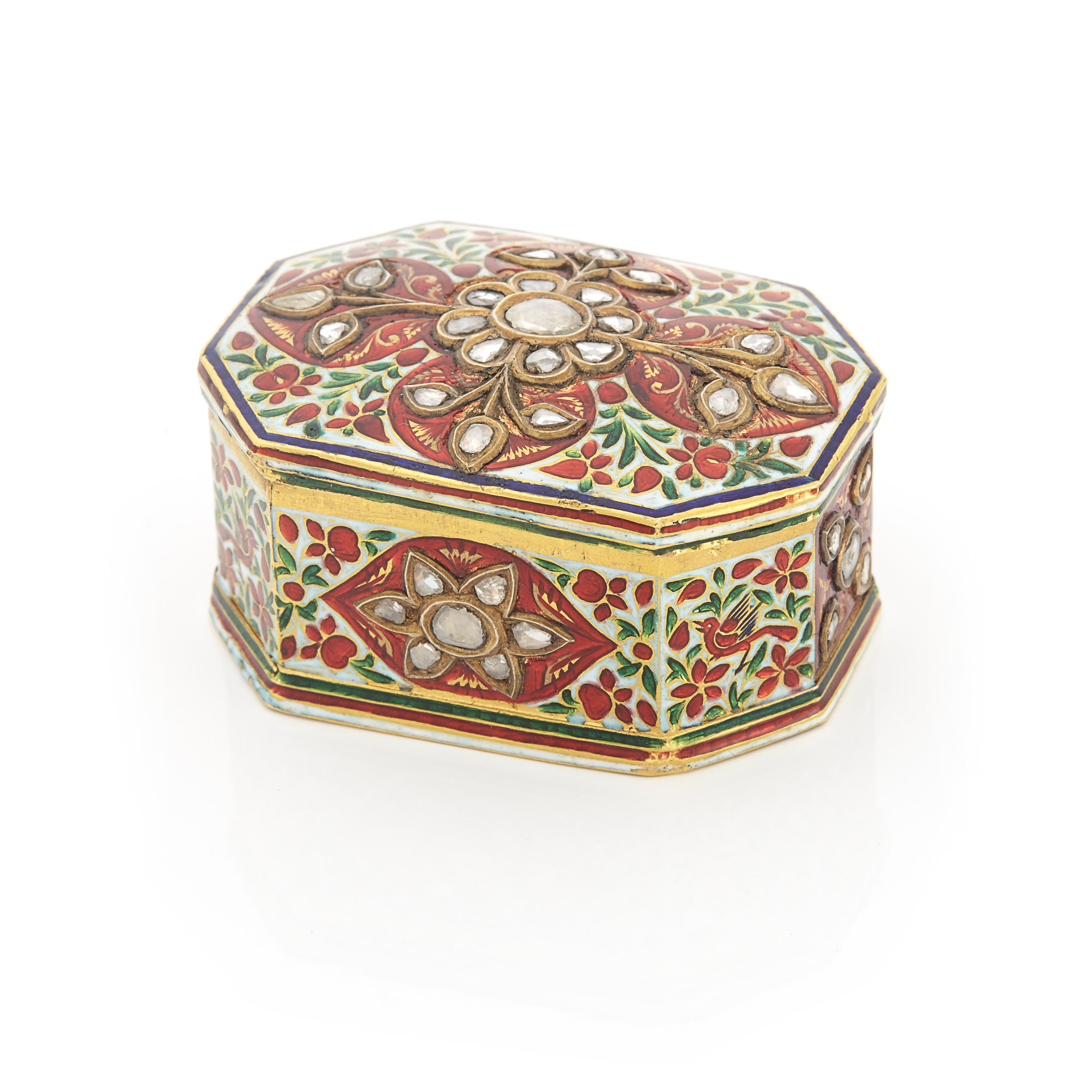 Lot image - Indian High Karat Gold, Enamel and Foil-Backed Diamond Pill Box