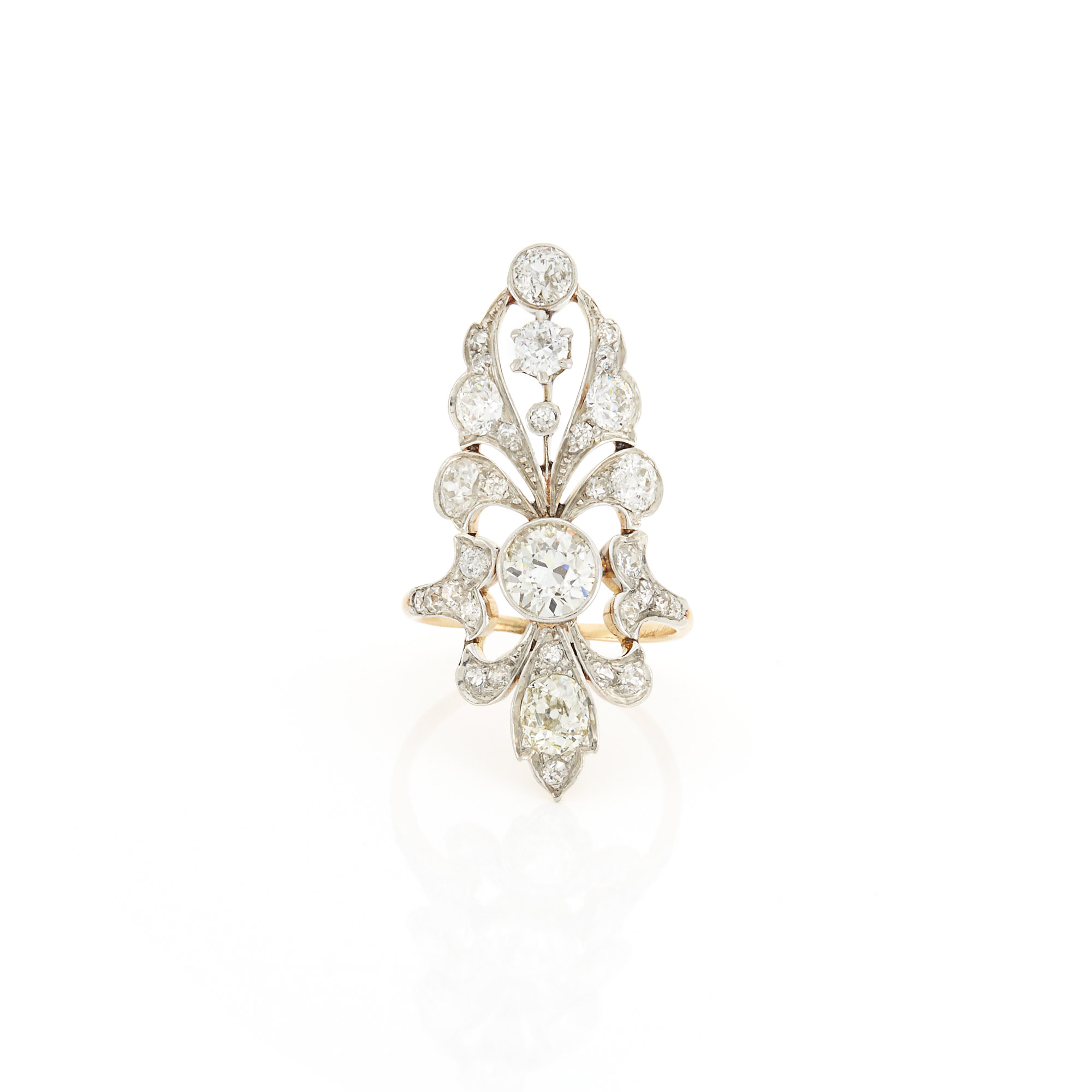 Lot image - Edwardian Gold, Platinum and Diamond Ring