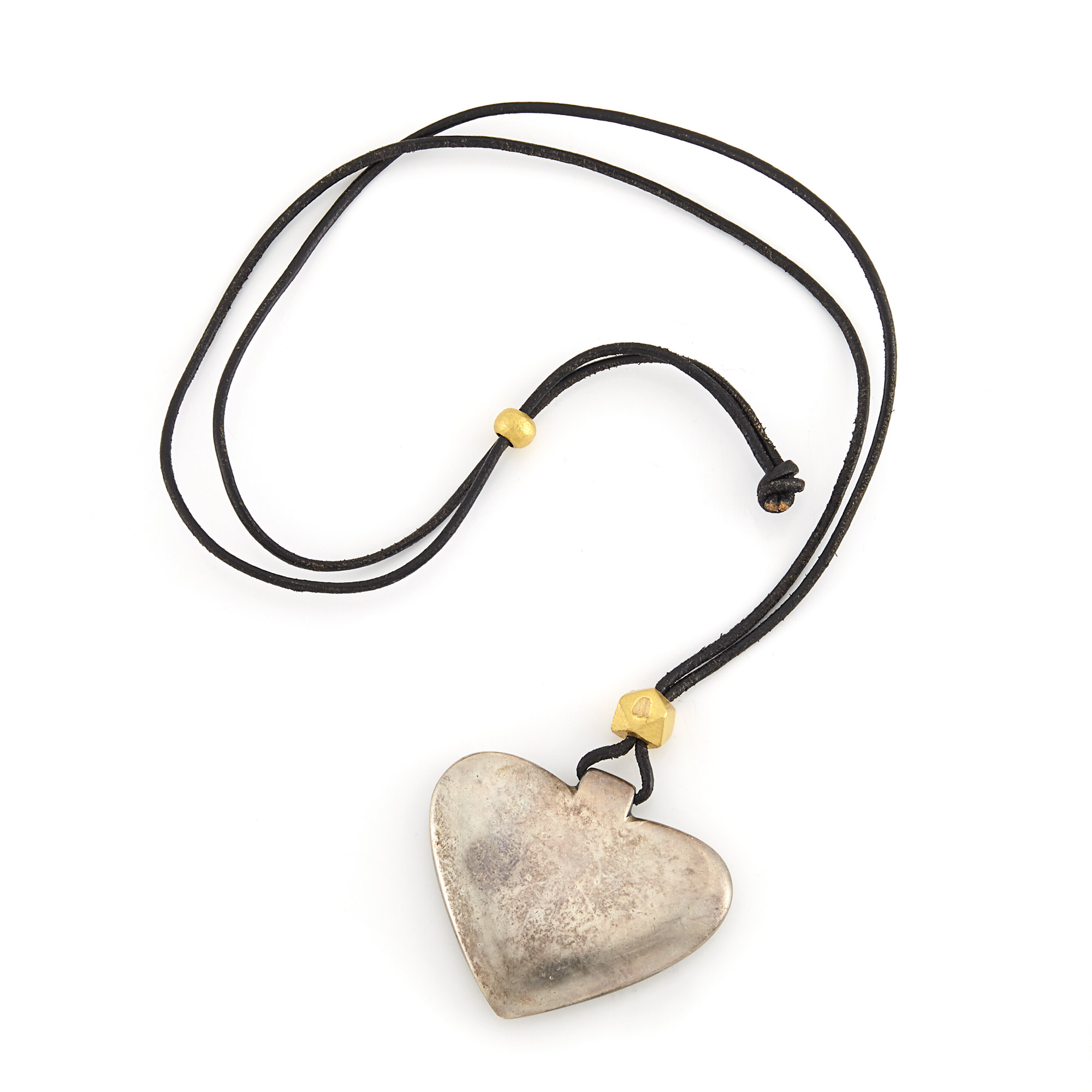 Lot image - Silver Heart Pendant and Gold Beads on Leather Cord Necklace, Linda Lee Johnson