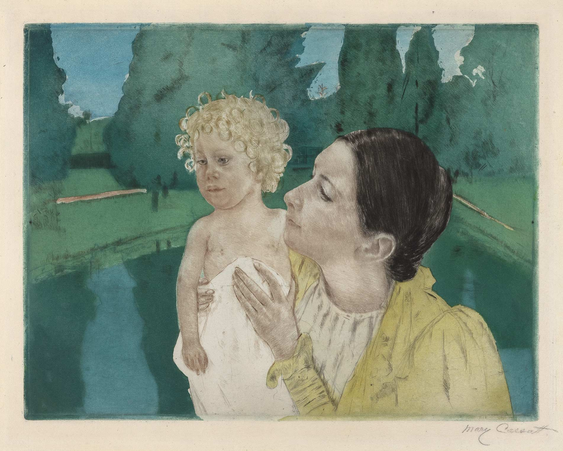 Lot image - Mary Cassatt BY THE POND