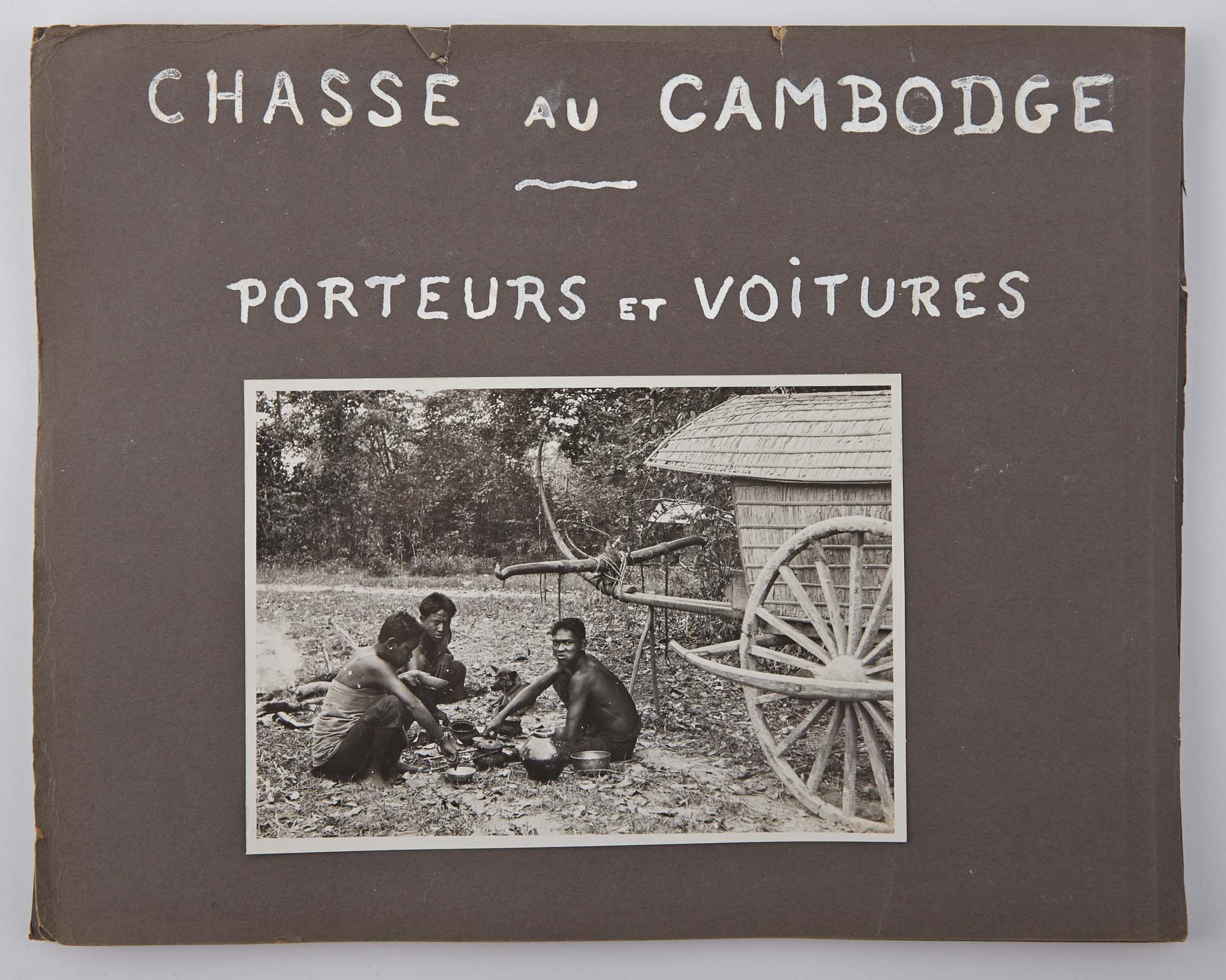 Lot image - [CAMBODIA - TIGER HUNTING]  Maquette for unpublished work Chasse au Cambodge/Porteurs et Voitures.