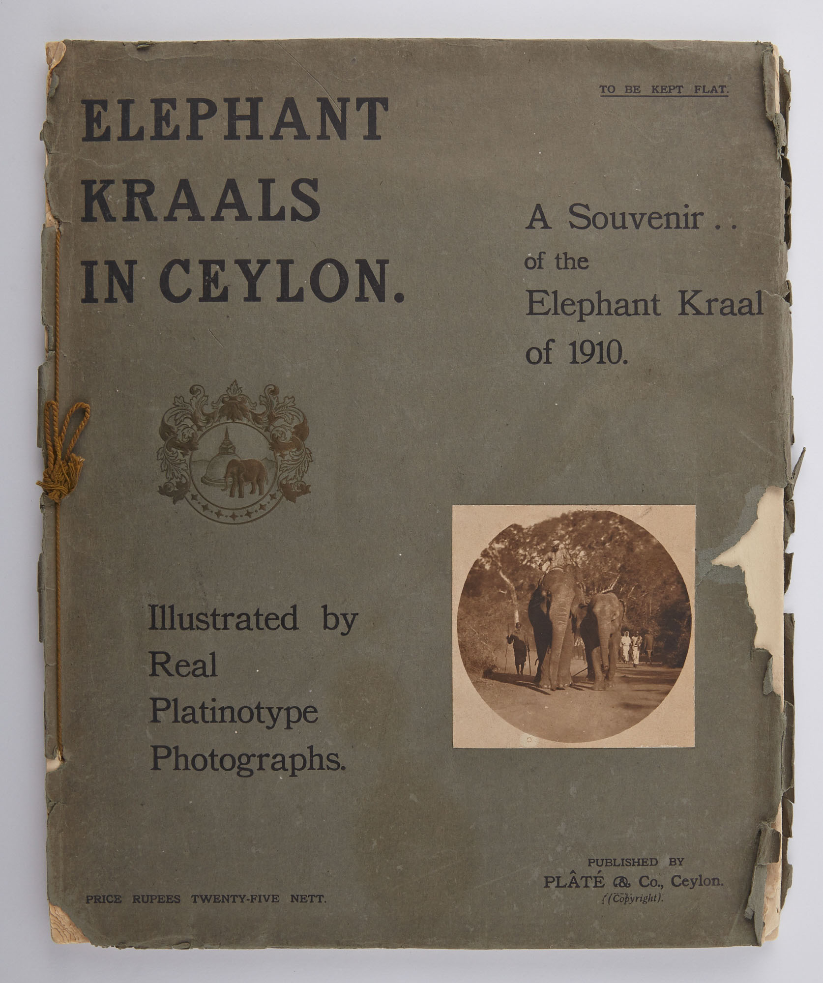 Lot image - [ELEPHANTS]  Elephant Kraals in Ceylon. A Souvenir of The Elephant Kraal of 1910. With Thirty Real Platinotype Photographs, Map and Diagrams.