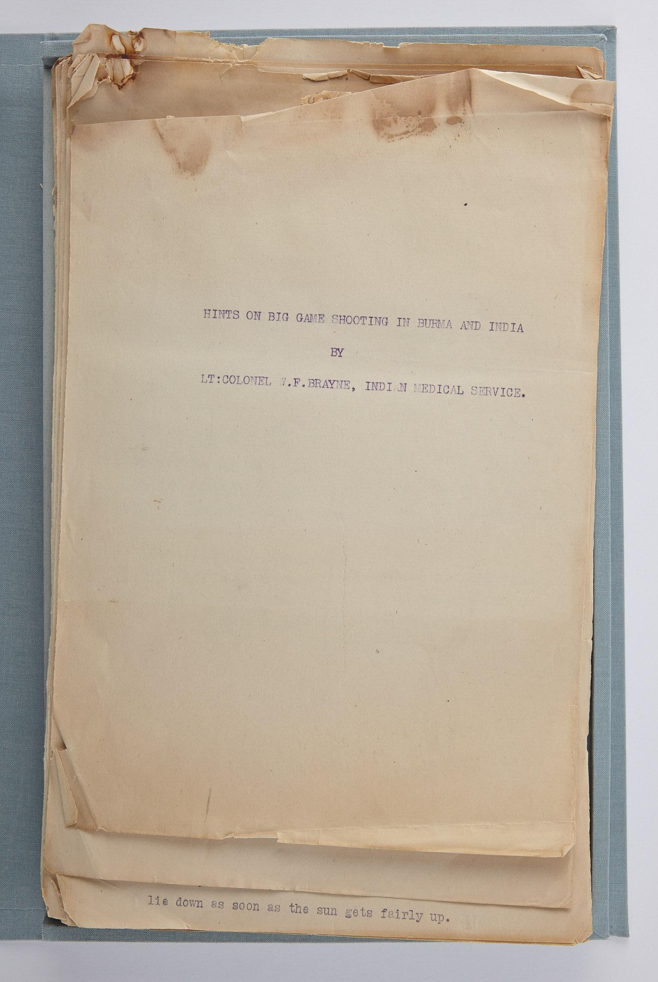 Lot image - [INDIA & BURMA]  Typescript titled Hints on Big Game Shooting in Burma and India. By Lt. Colonel W.F. Brayne, Indian Medical Service.