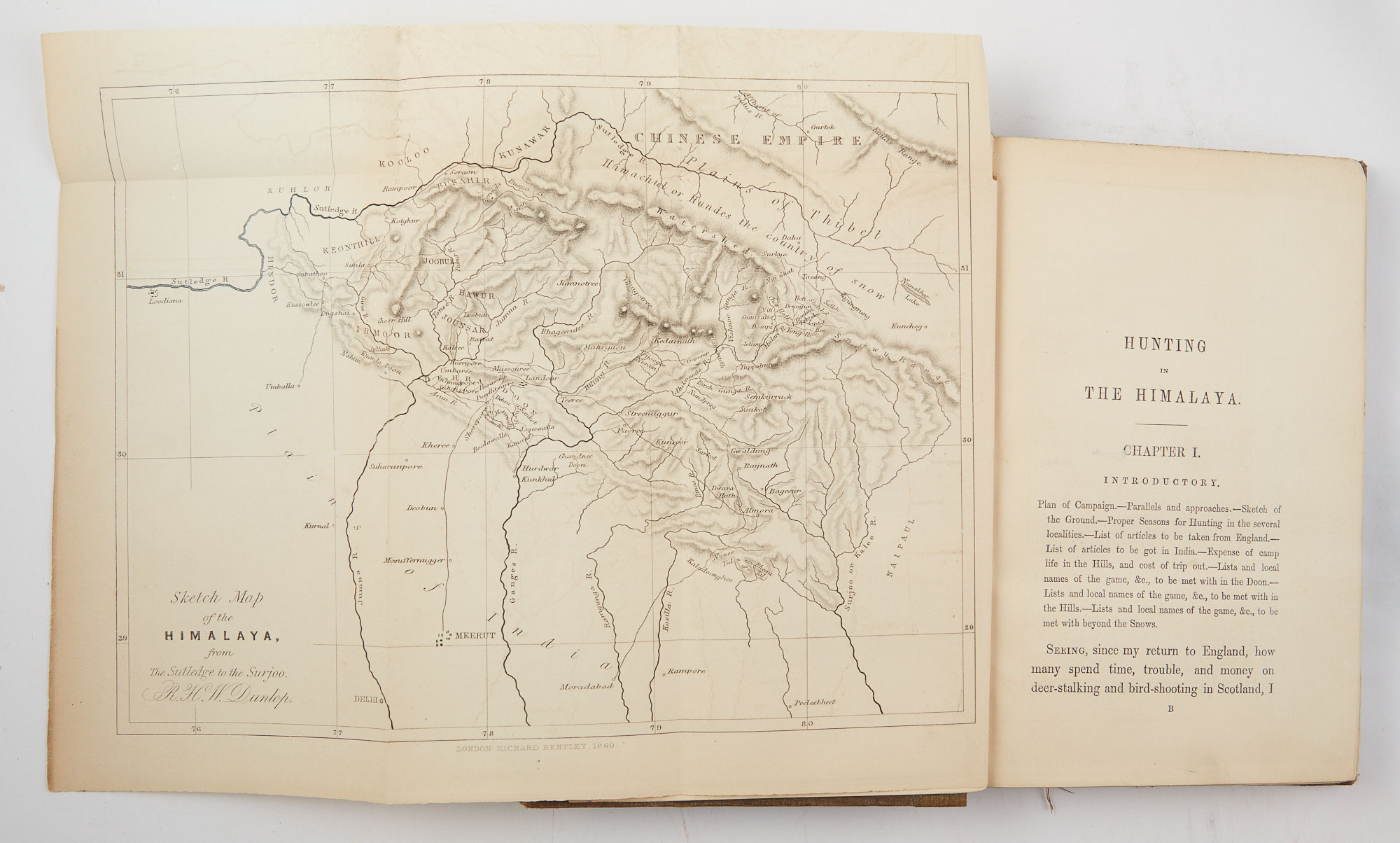 Lot image - DUNLOP, R. H. W.  Hunting in the Himalaya. With Notices of Customs and Countries from the Elephant Haunts of the Dehra Doon, to the Bunchowr Tracks in Eternal Snow.