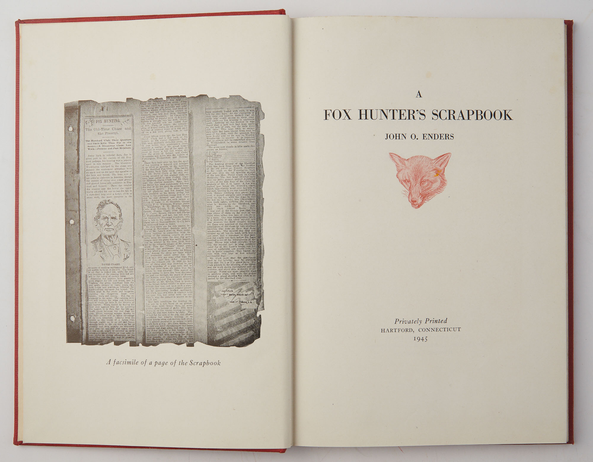 Lot image - ENDERS, JOHN O.  A Fox Hunters Scrapbook.