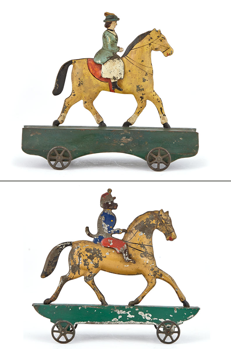 Lot image - Two Mounted Tin Riders