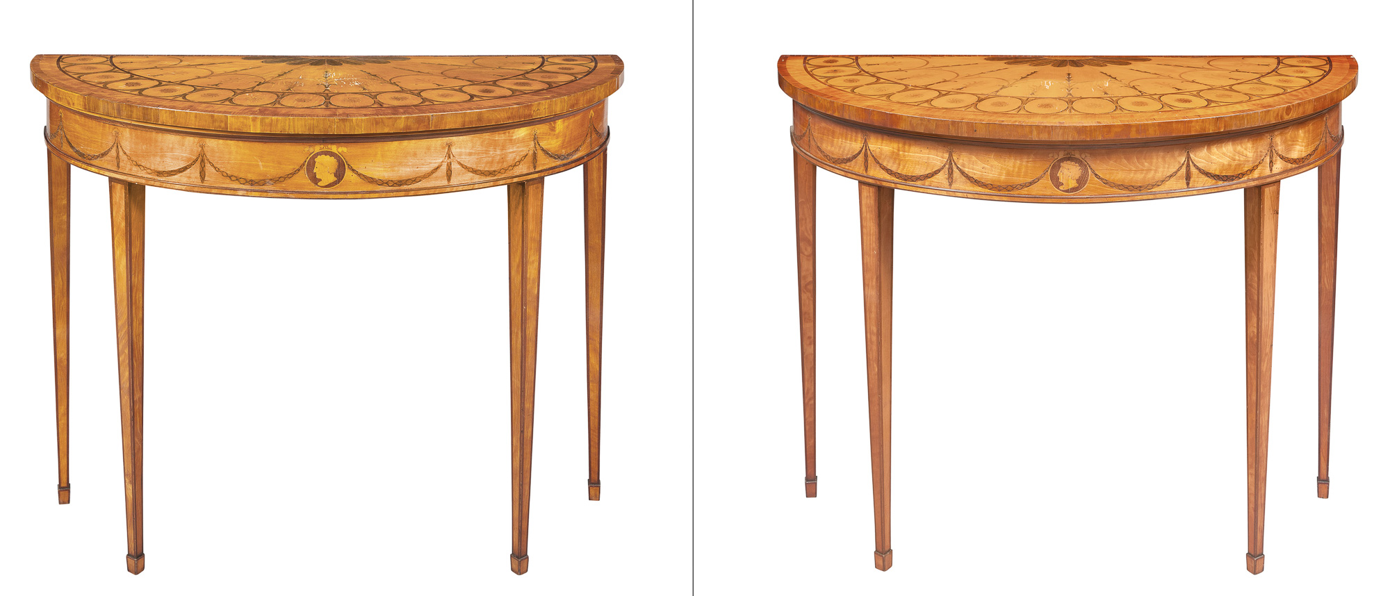 Lot image - Pair of George III Satinwood, Tulipwood and Marquetry Pier Tables