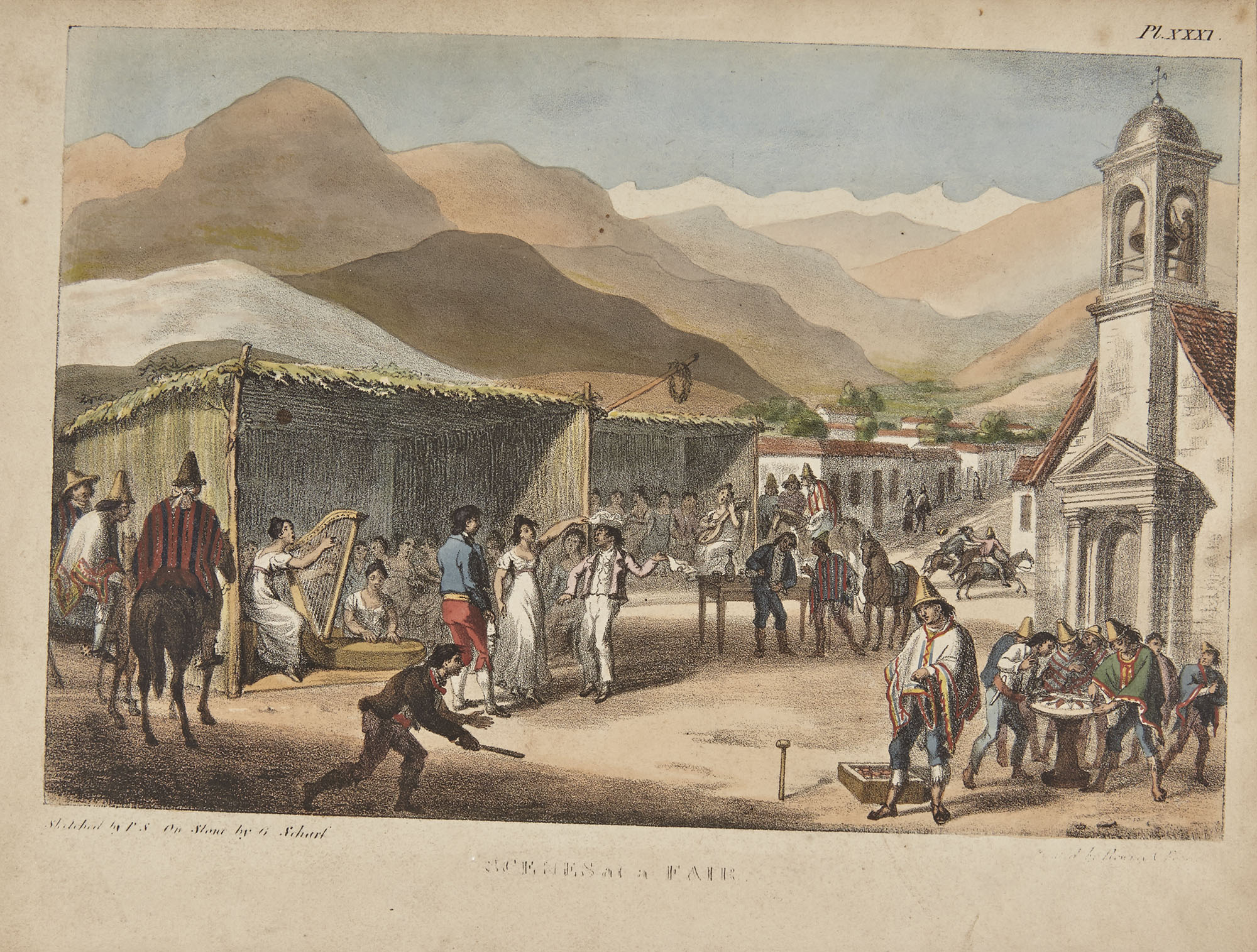 Lot image - [CHILE-COLOR PLATE]  SCHMIDTMEYER, PETER. Travels into Chile, over the Andes, in the years 1820 and 1821, with some Sketches of Chile, and Arauco.