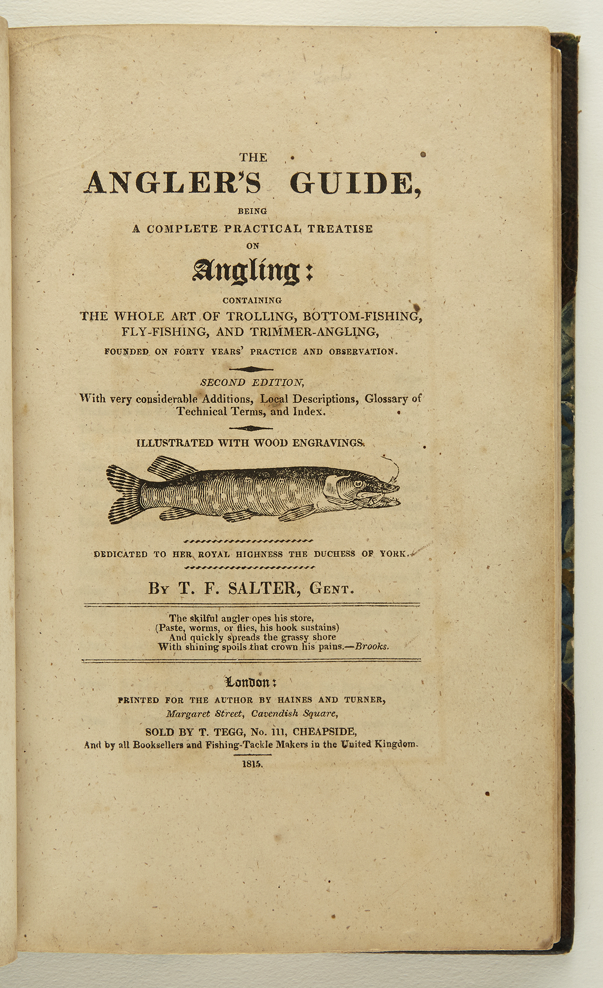 Lot image - [ANGLING]  SALTER, THOMAS FREDERICK. The Anglers Guide, Being a Complete Practical Treatise on Angling:  Containing the Whole Art of Trolling, Bottom and Float-Fishing, and Trimmer-Angling, for Sea, River, and Pond Fish...