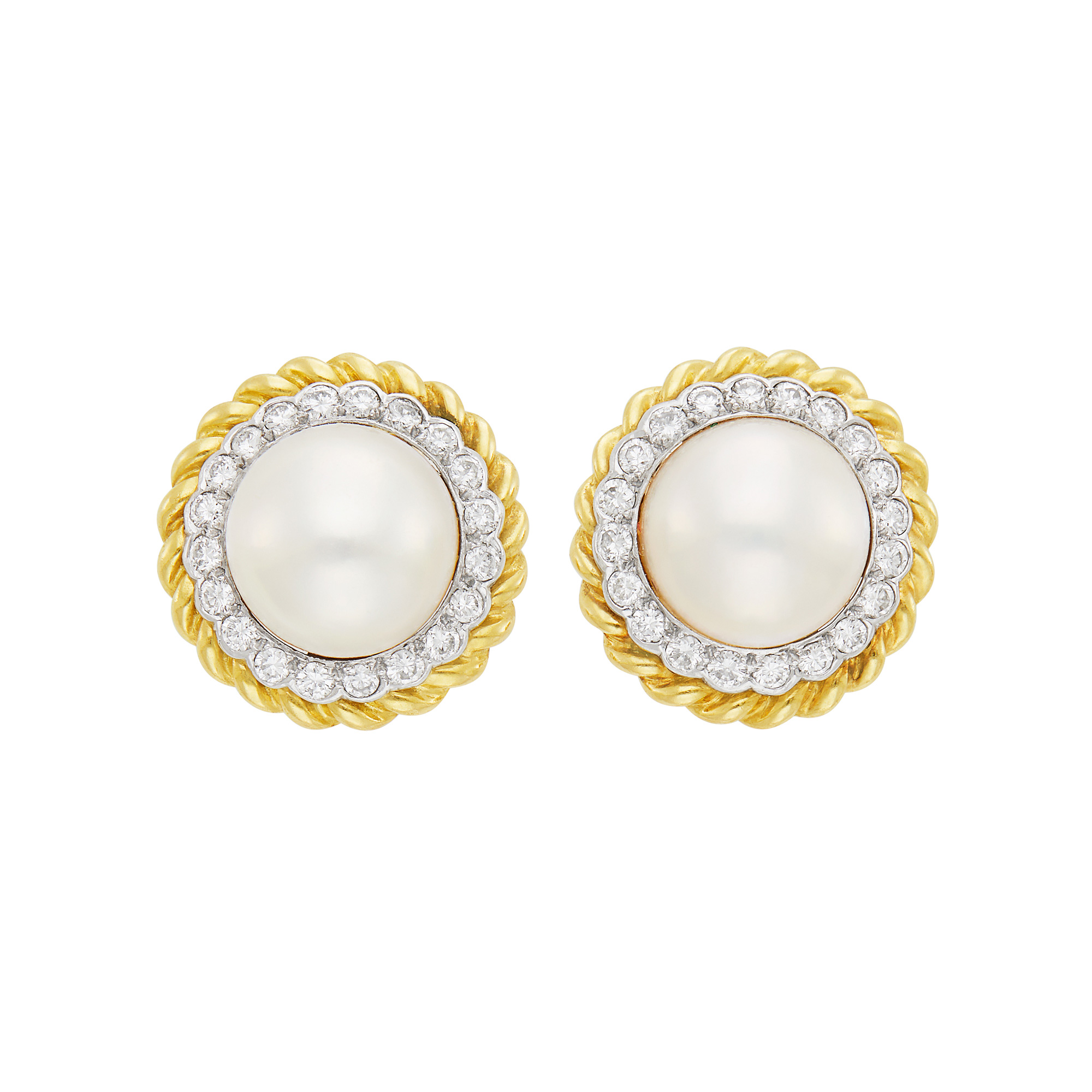 Lot image - Pair of Two-Color Gold, Mabé Pearl and Diamond Earclips