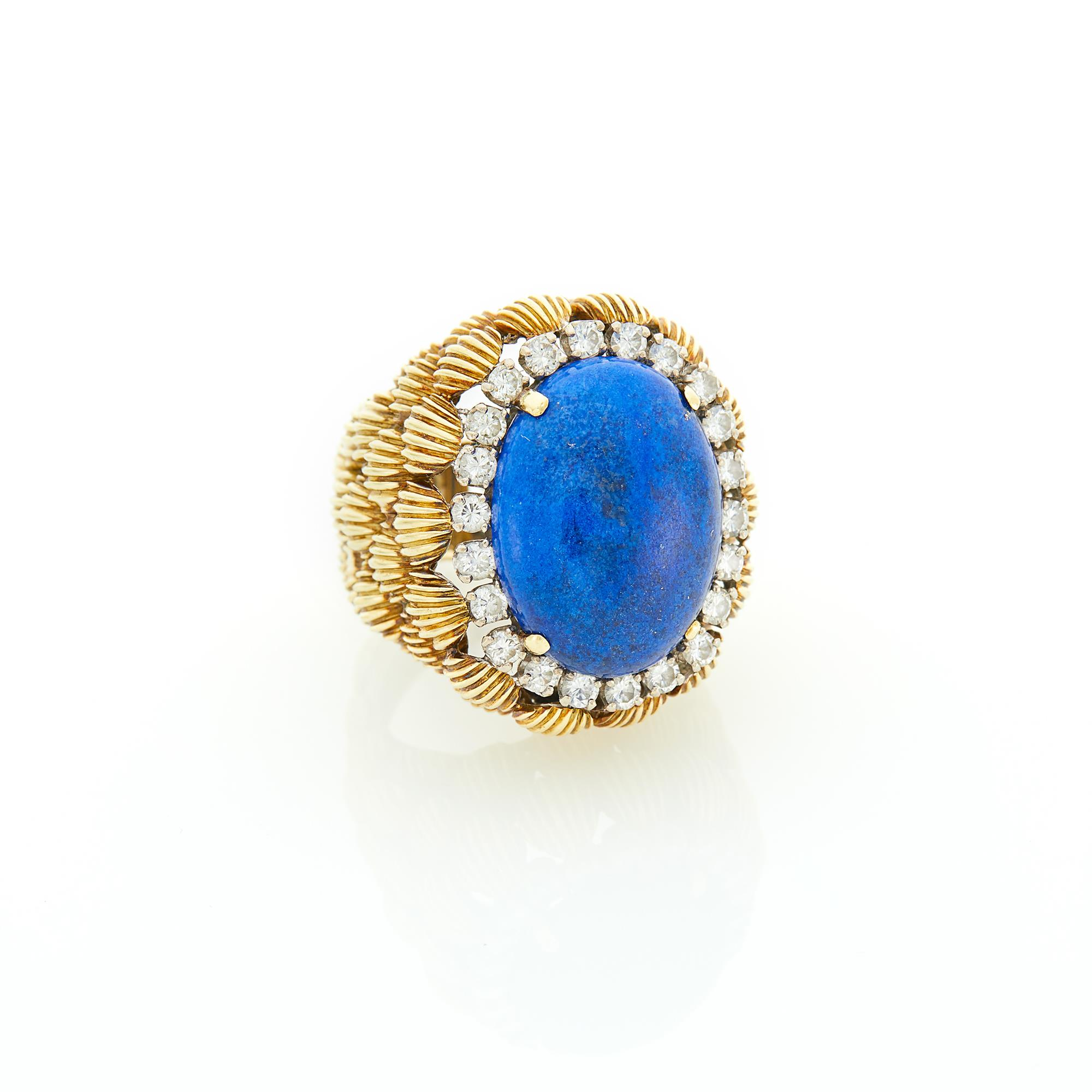 Lot image - Hammerman Brothers Gold, Lapis and Diamond Dome Ring