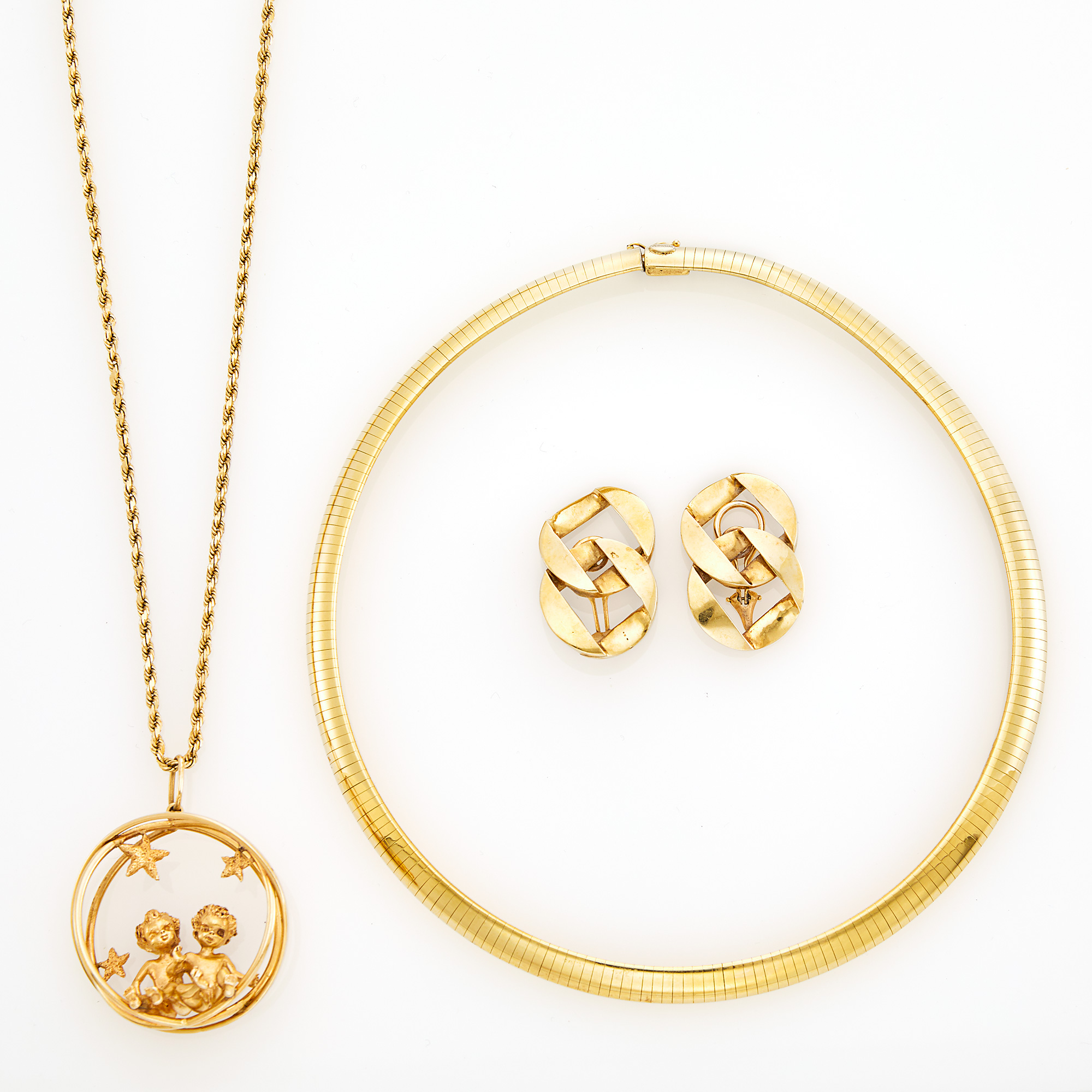 Lot image - Pair of Gold Curb Link Earclips and Two Necklaces