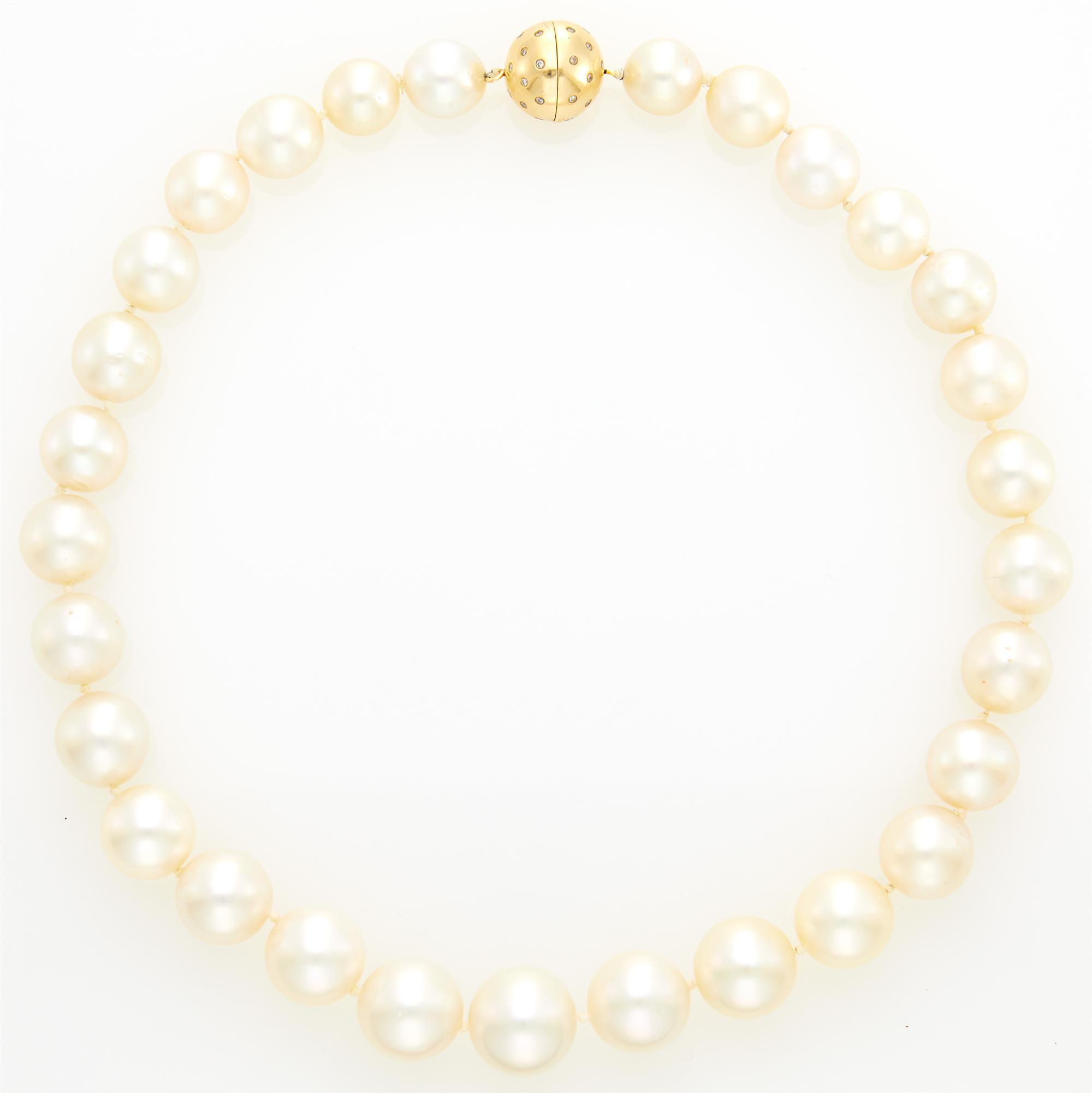 Lot image - South Sea Cultured Pearl Necklace with Gold and Diamond Ball Clasp
